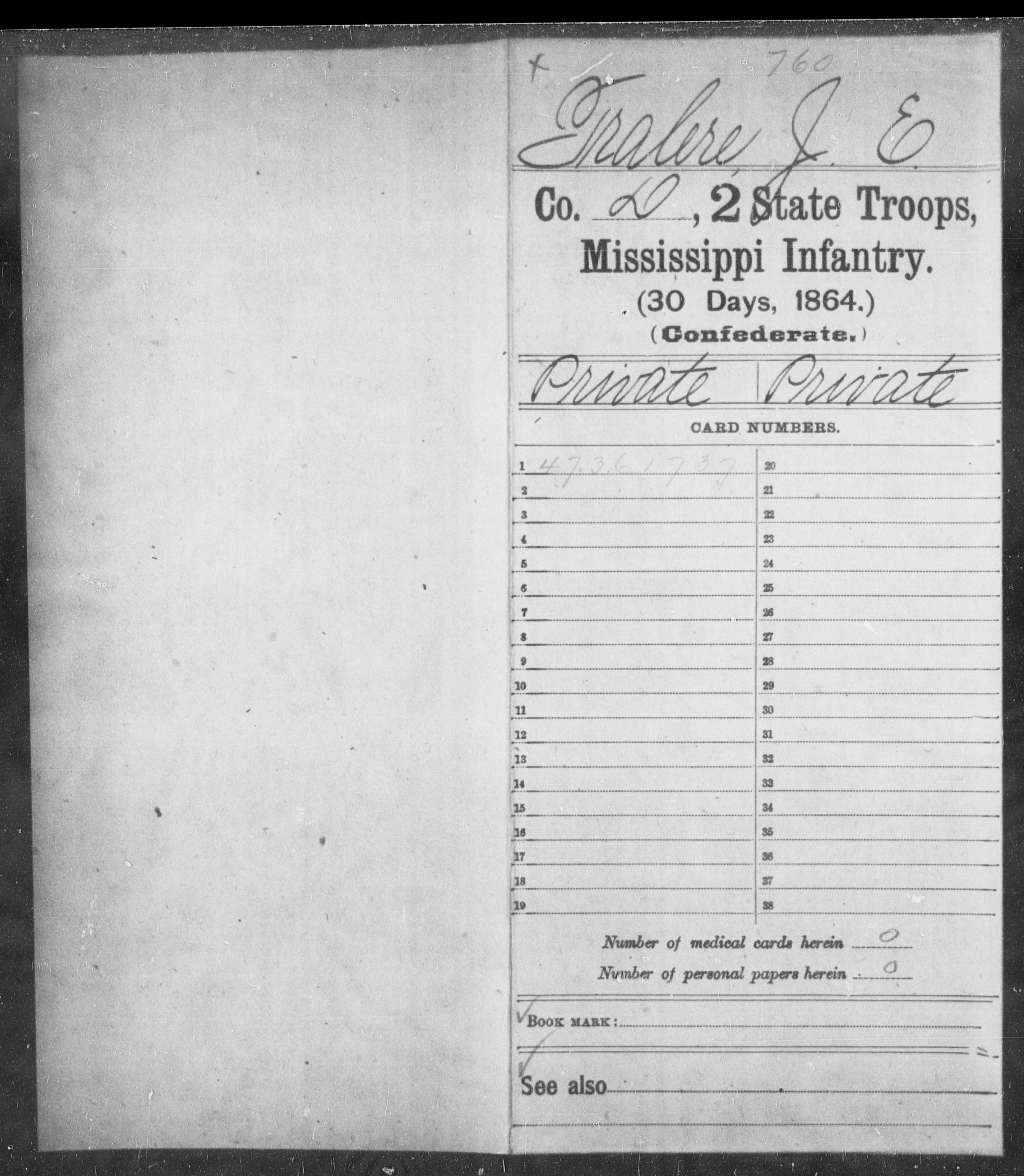 Tralere, J E - Age: [Blank], Year: 1864 - Mississippi Second State Troops, Infantry (30 Days, 1864)