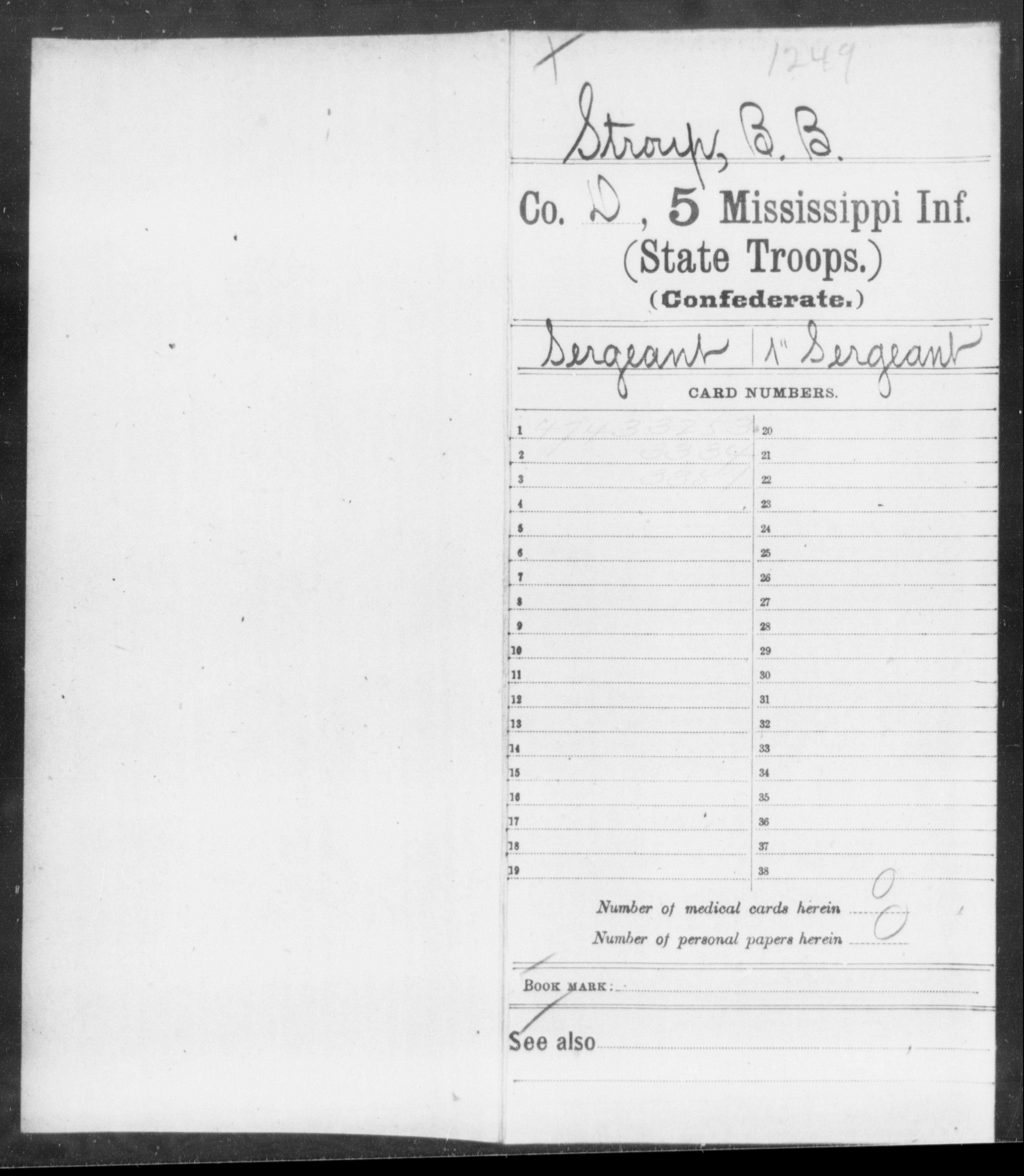 Stroup, B B - Age: [Blank], Year: 1862 - Mississippi Fifth Infantry (State Troops), N-Y