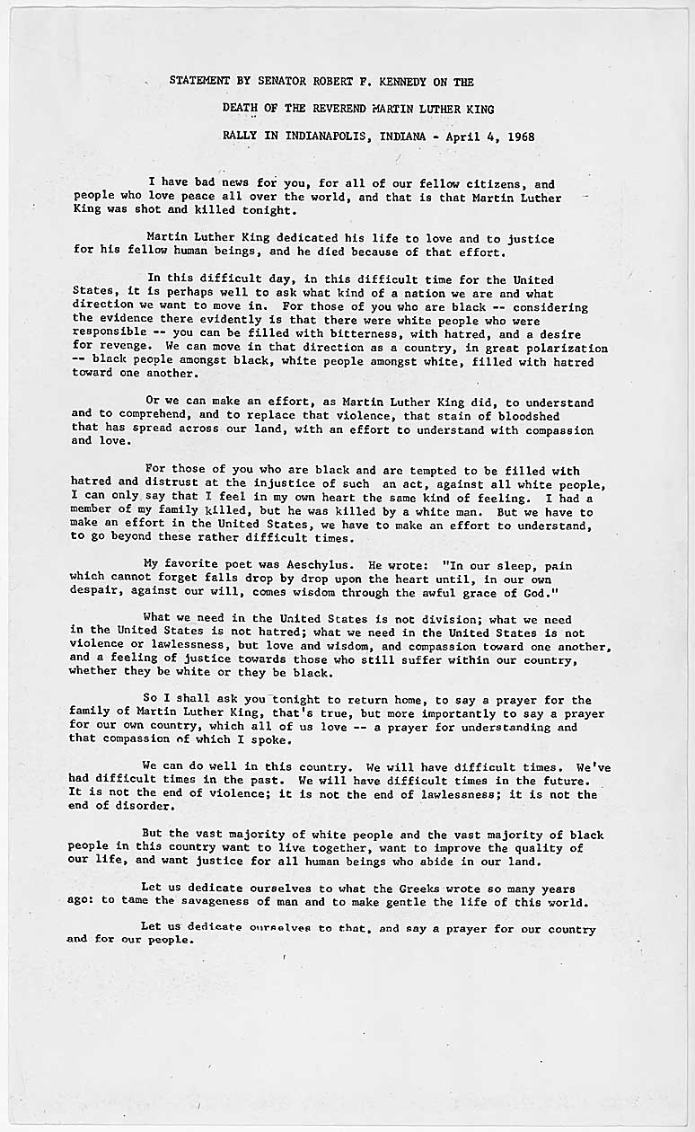 martin luther king jr speech essay martin luther king essay on his statement by senator robert f kennedy on the death of the statement by senator robert f