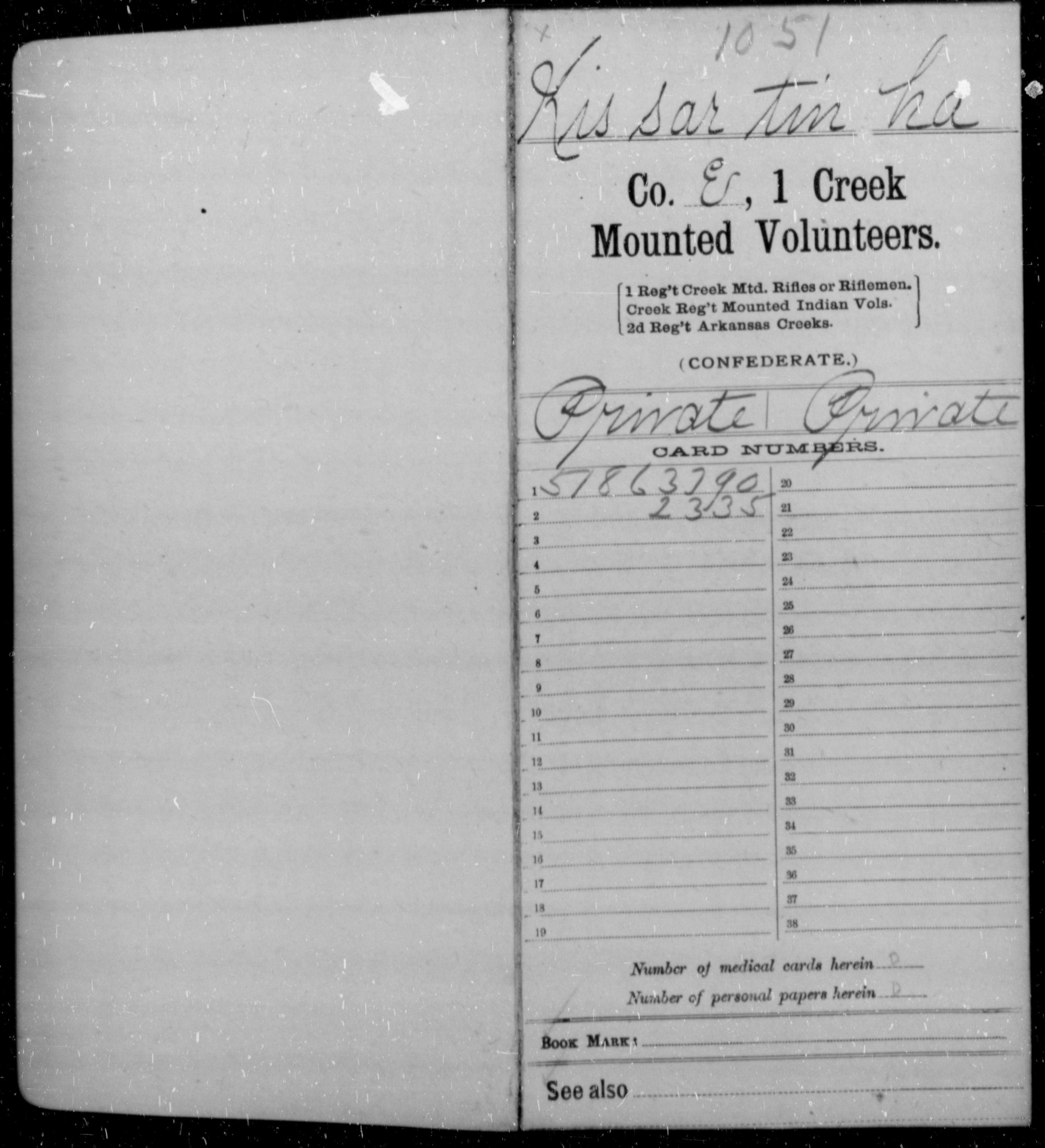 Kissar, Tin Ha - Age [Blank], Year: 1862 - First Creek Mounted Volunteers, I-S - Raised Directly by the Confederate Government