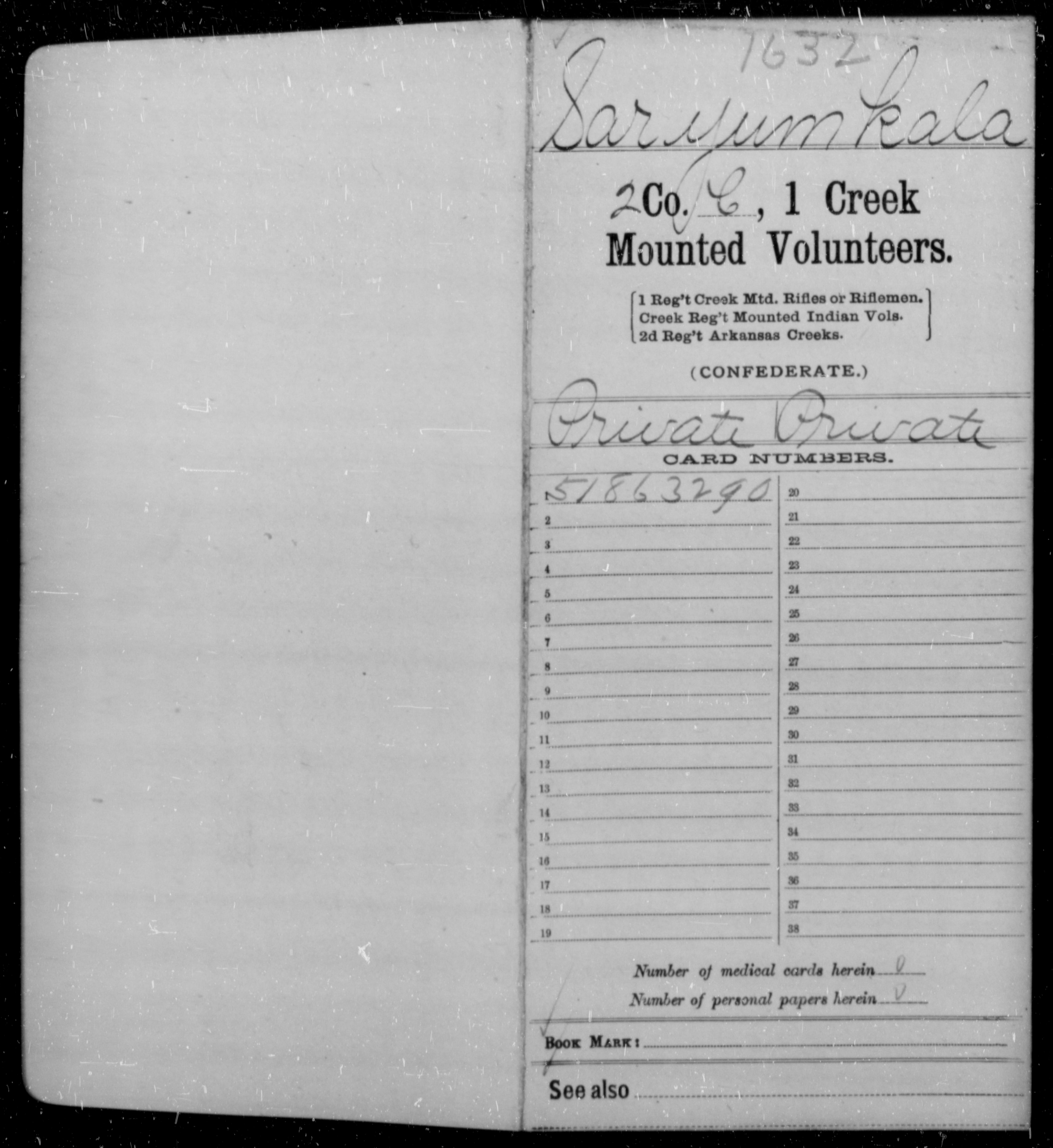 Saryum, Kala - Age 40, Year: 1862 - First Creek Mounted Volunteers, I-S - Raised Directly by the Confederate Government