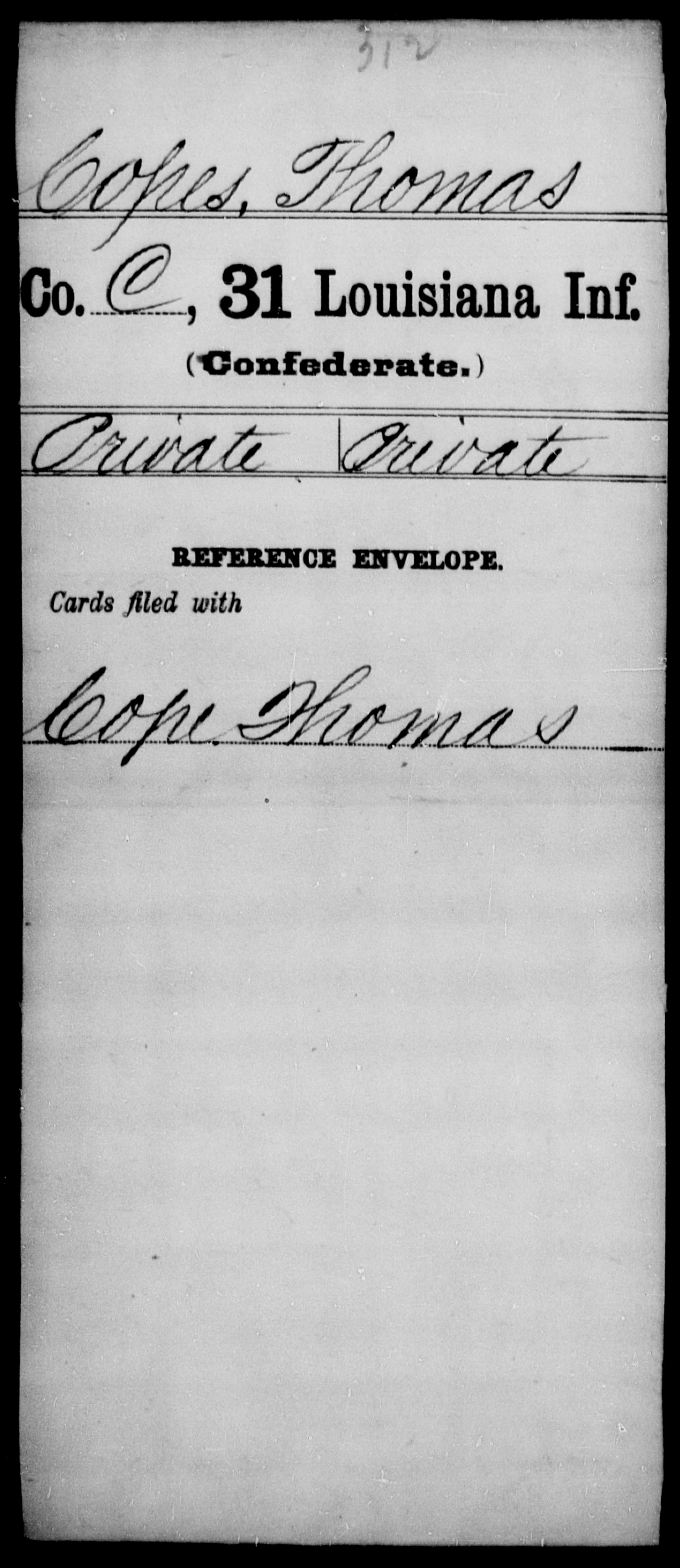 Copes, Thomas - Age [Blank], Year: [Blank] - Thirty-first Infantry, A - Co - Louisiana
