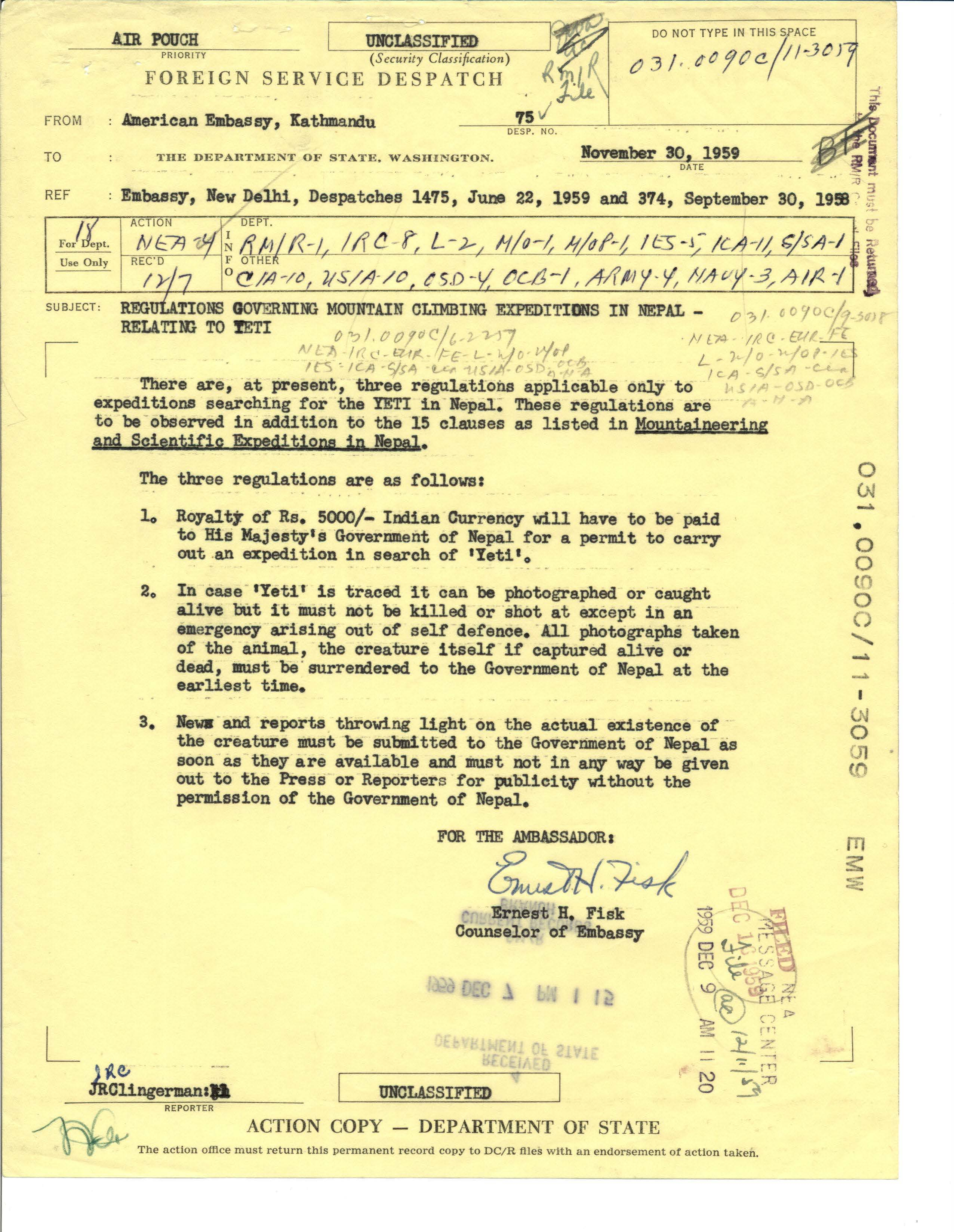 Foreign Service Despatch 75 from the American Embassy