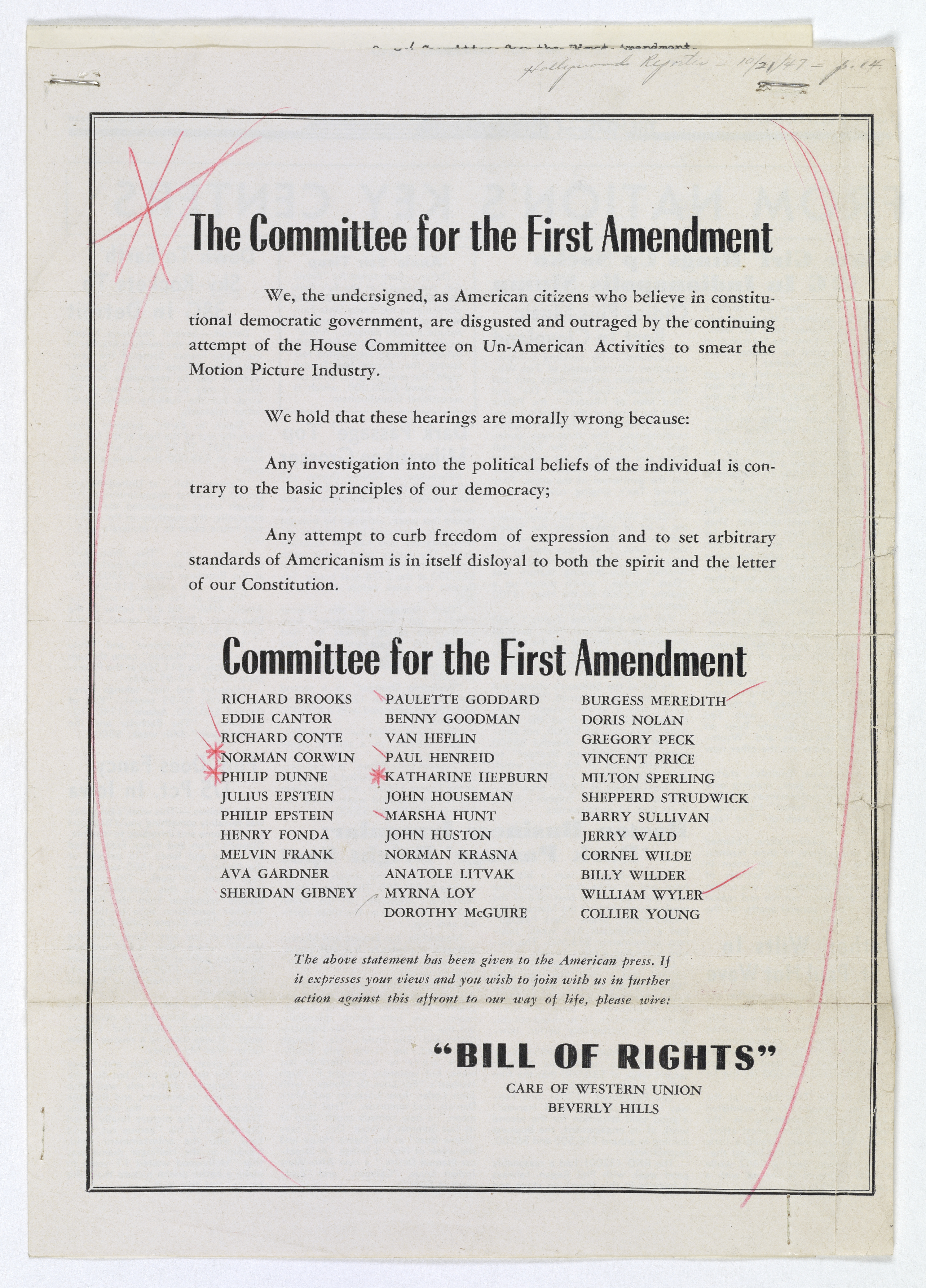 Statement of the Committee for the First Amendment