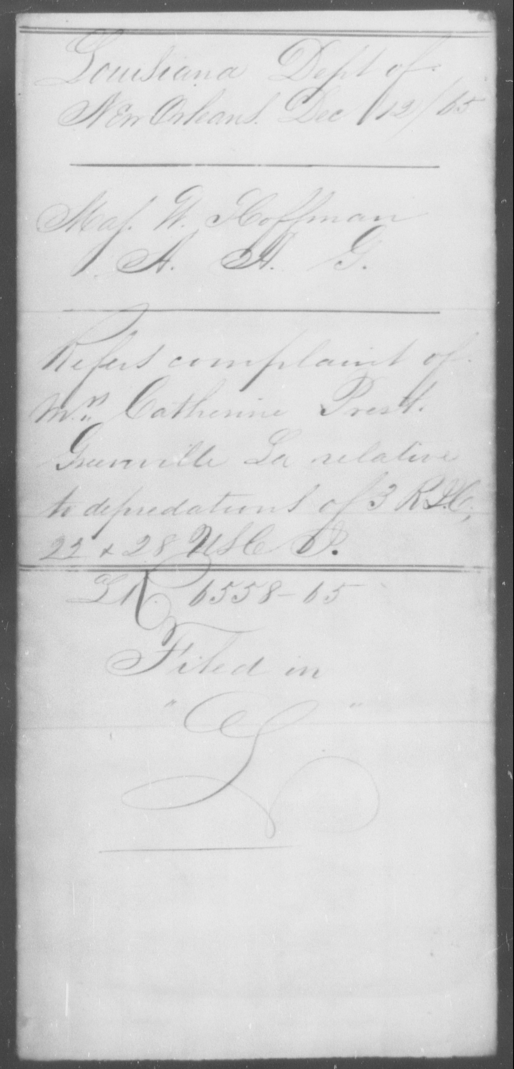 Prest, Catherine - State: Louisiana - Year: 1865