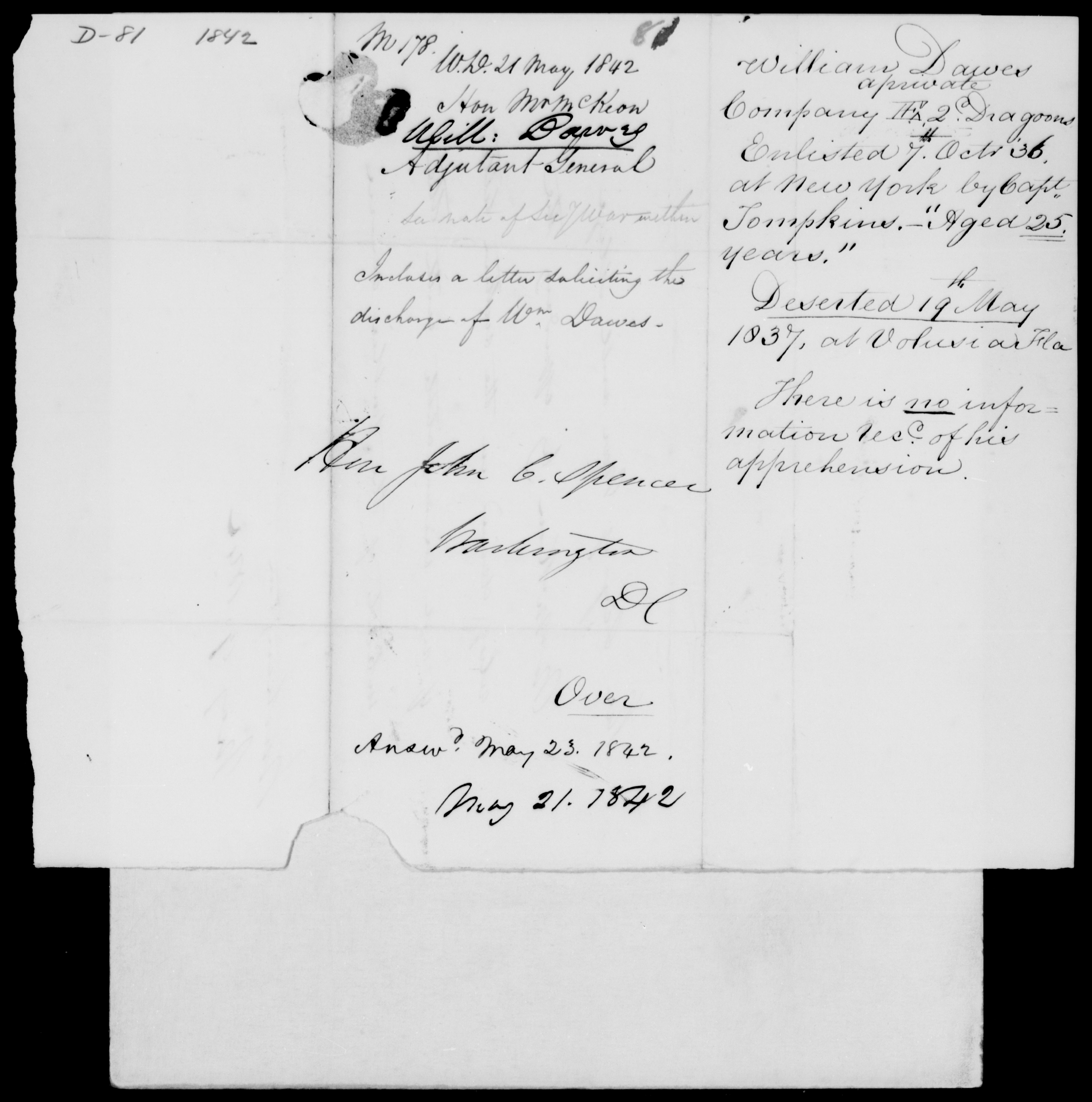 Danes, Will - State: [Blank] - Year: 1842 - File Number: D81