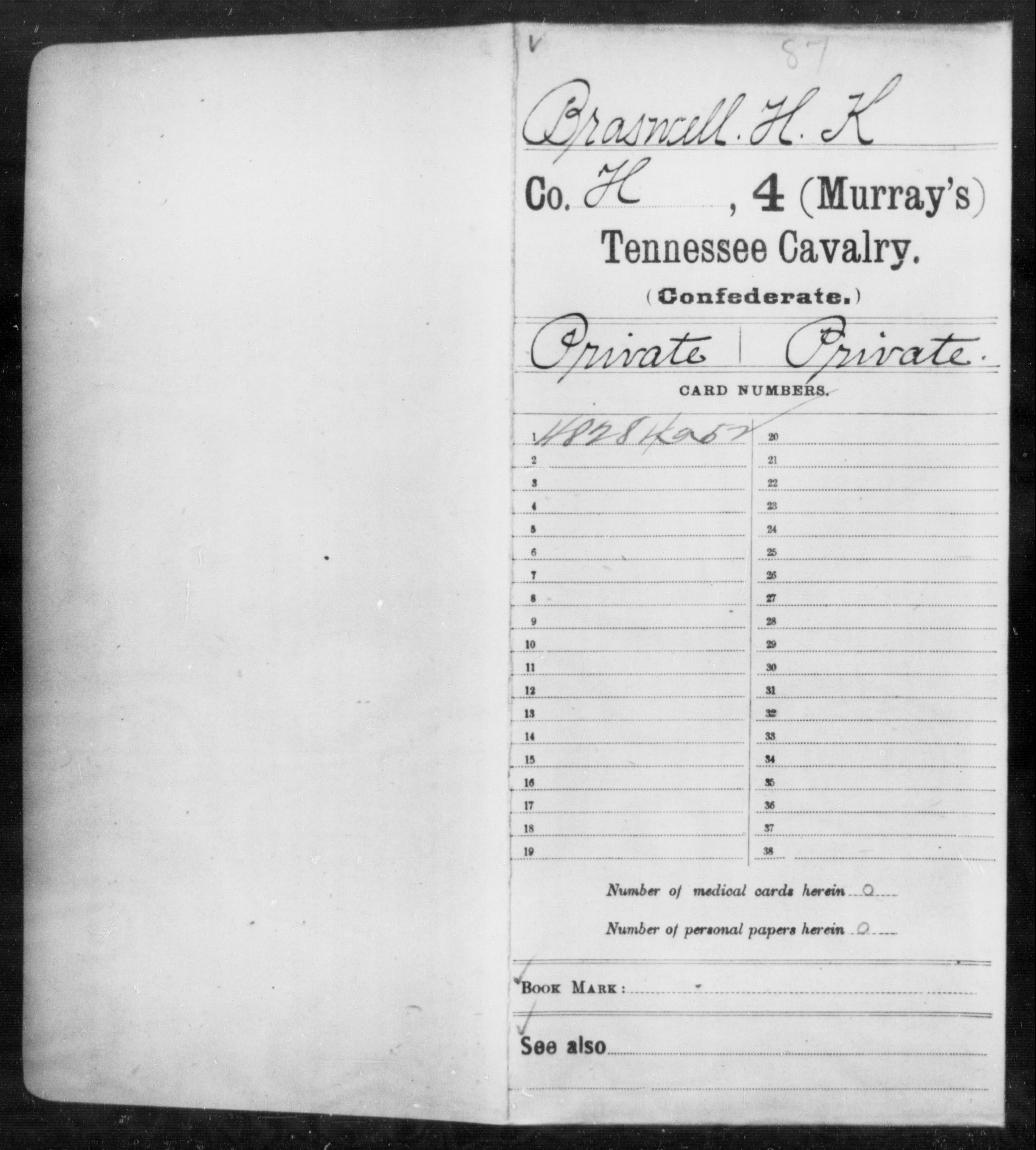 [Tennessee] Braswell, H K - Age 20, Year: 1861 - Fourth (Murray's) Cavalry