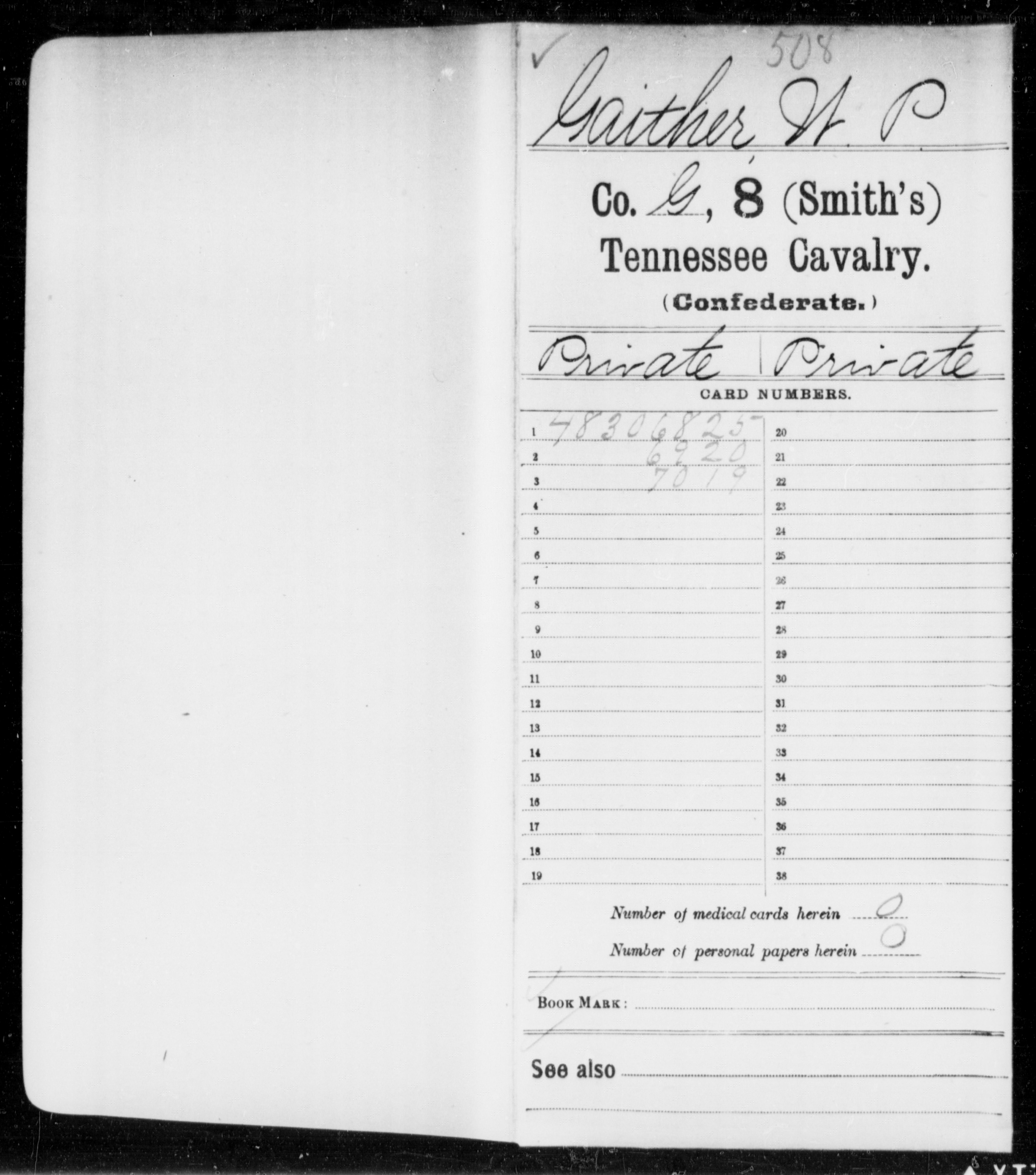 [Tennessee] Gaither, W P - Age [Blank], Year: 1863 - Eighth (Smith's) Cavalry, G-M