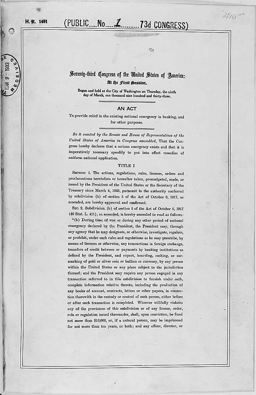 Emergency banking act of 1933 pdf