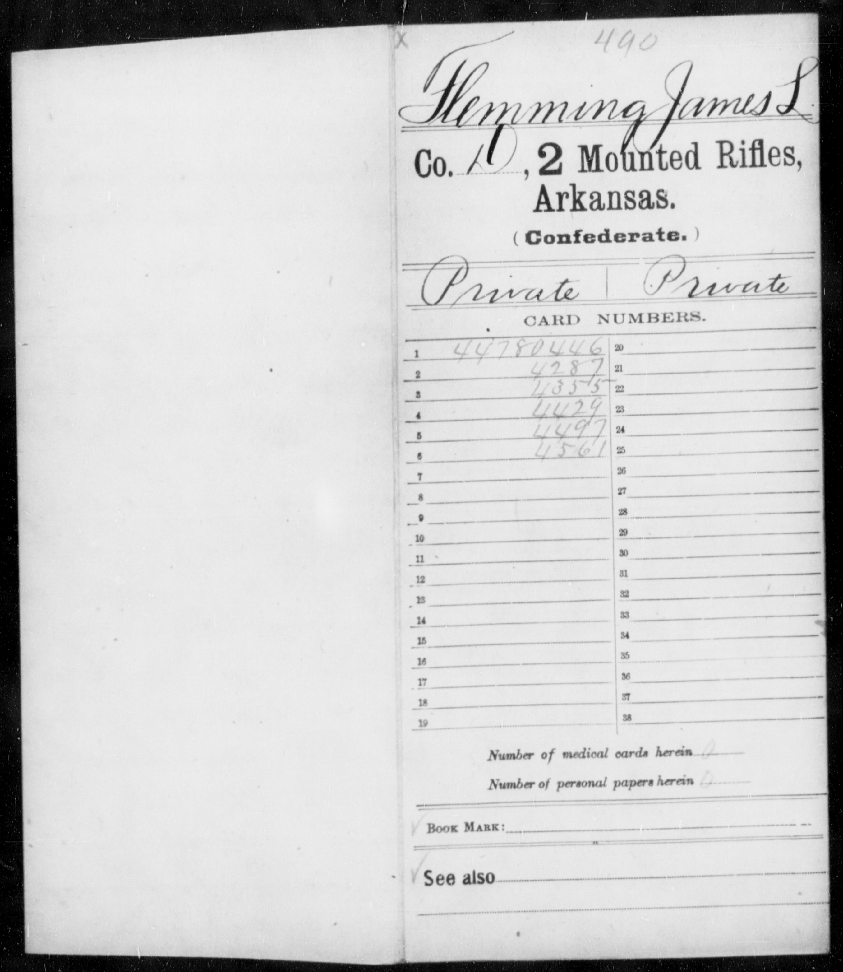 [Arkansas] Flemings, James L - Age 18, Year: 1862 - Second Mounted Rifles, Cl-Ha