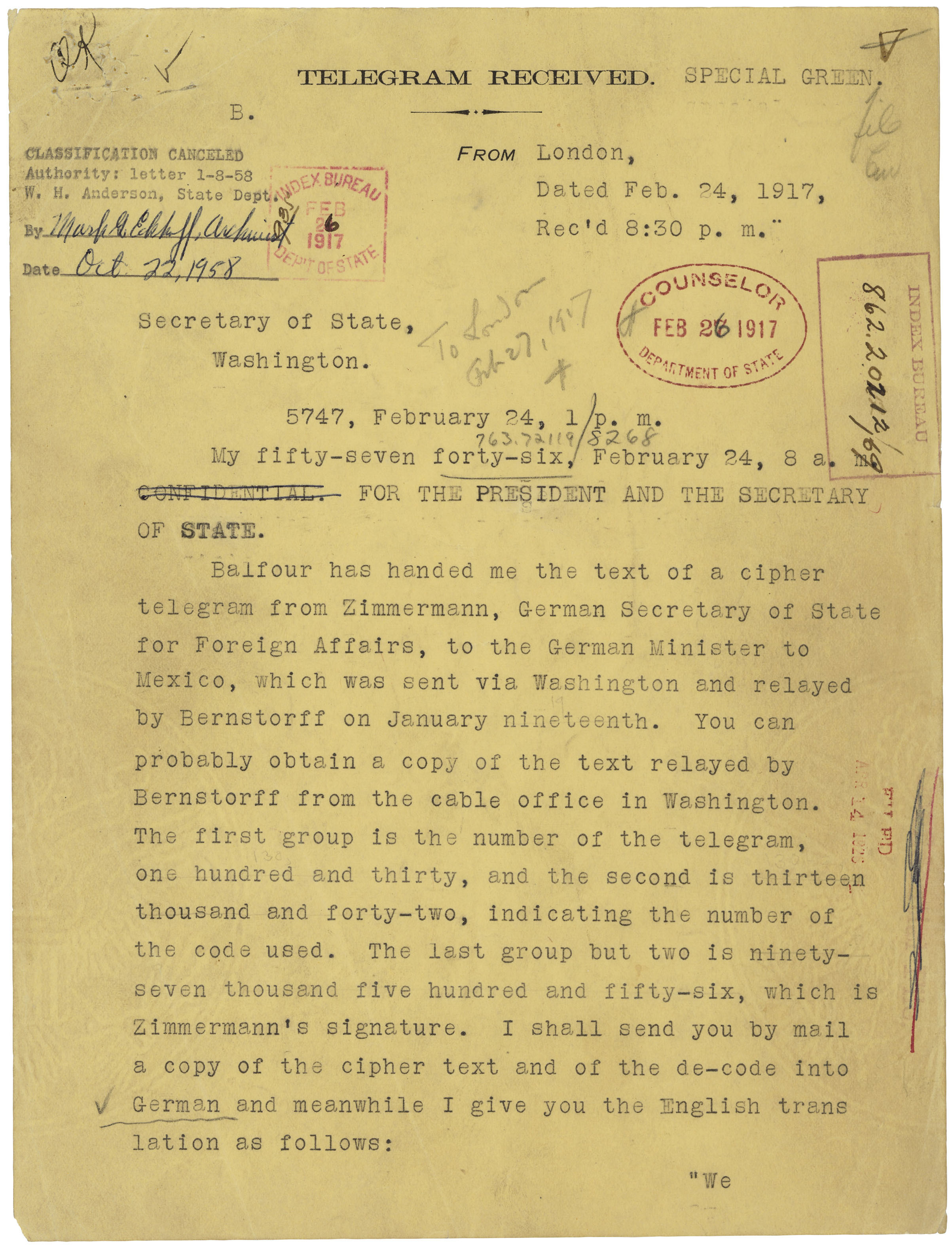 Telegram from Ambassador Walter Page to Secretary of State