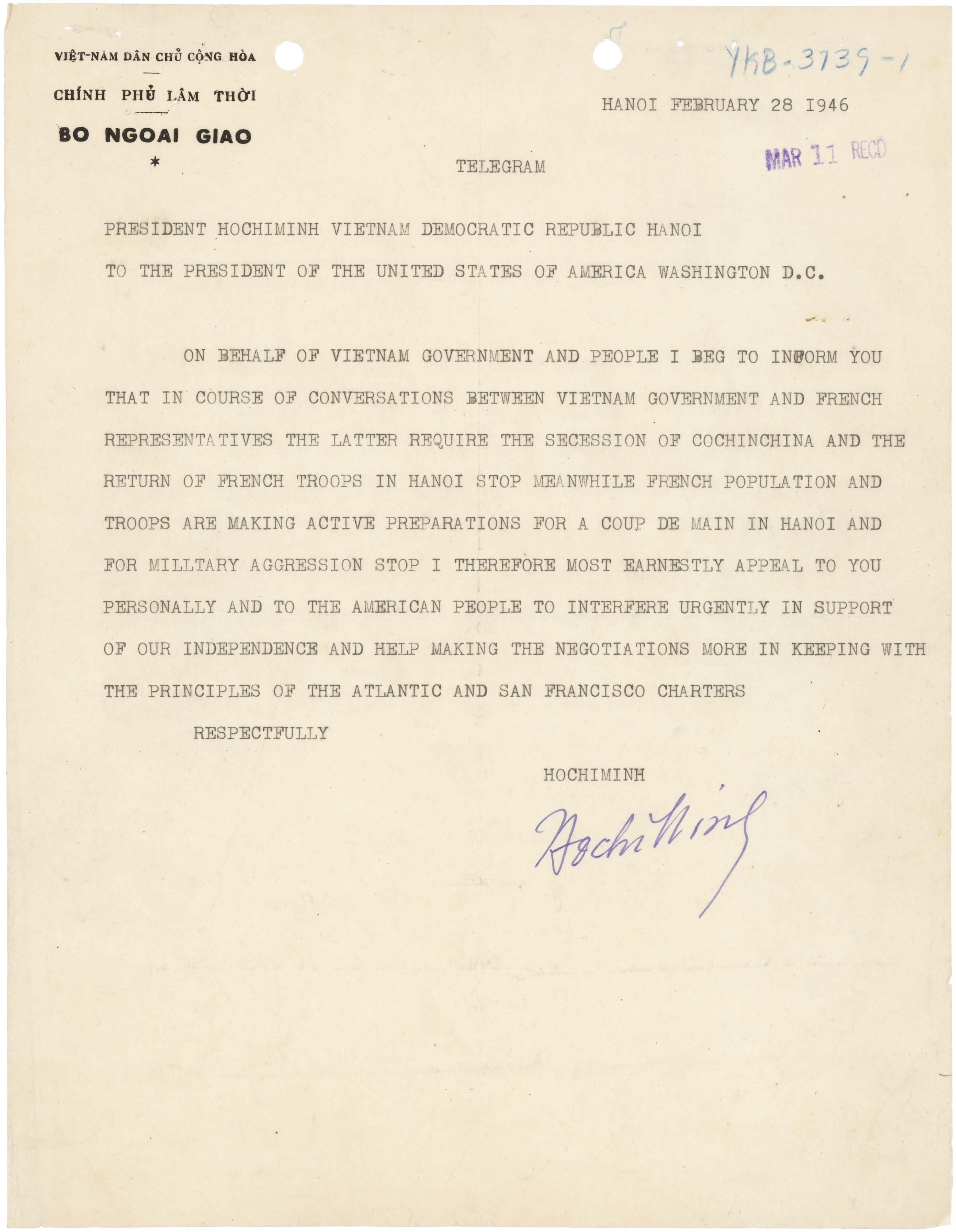 Letter from Ho Chi Minh to President Harry S Truman