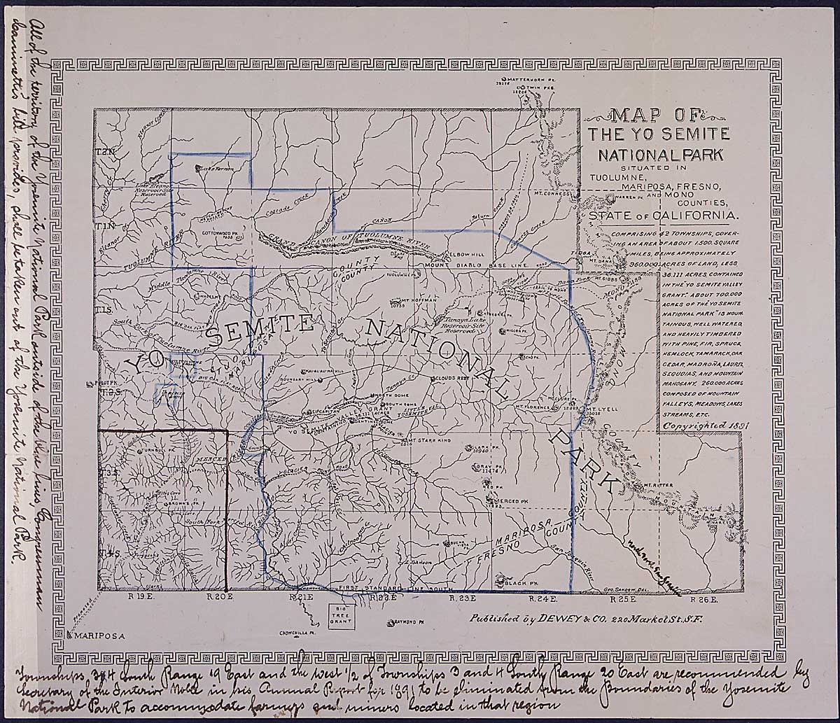 Petition and map from John Muir and other founders of Sierra Club protesting a bill to reduce the size of Yosemite National Park, 01/02/1893 (attached map)