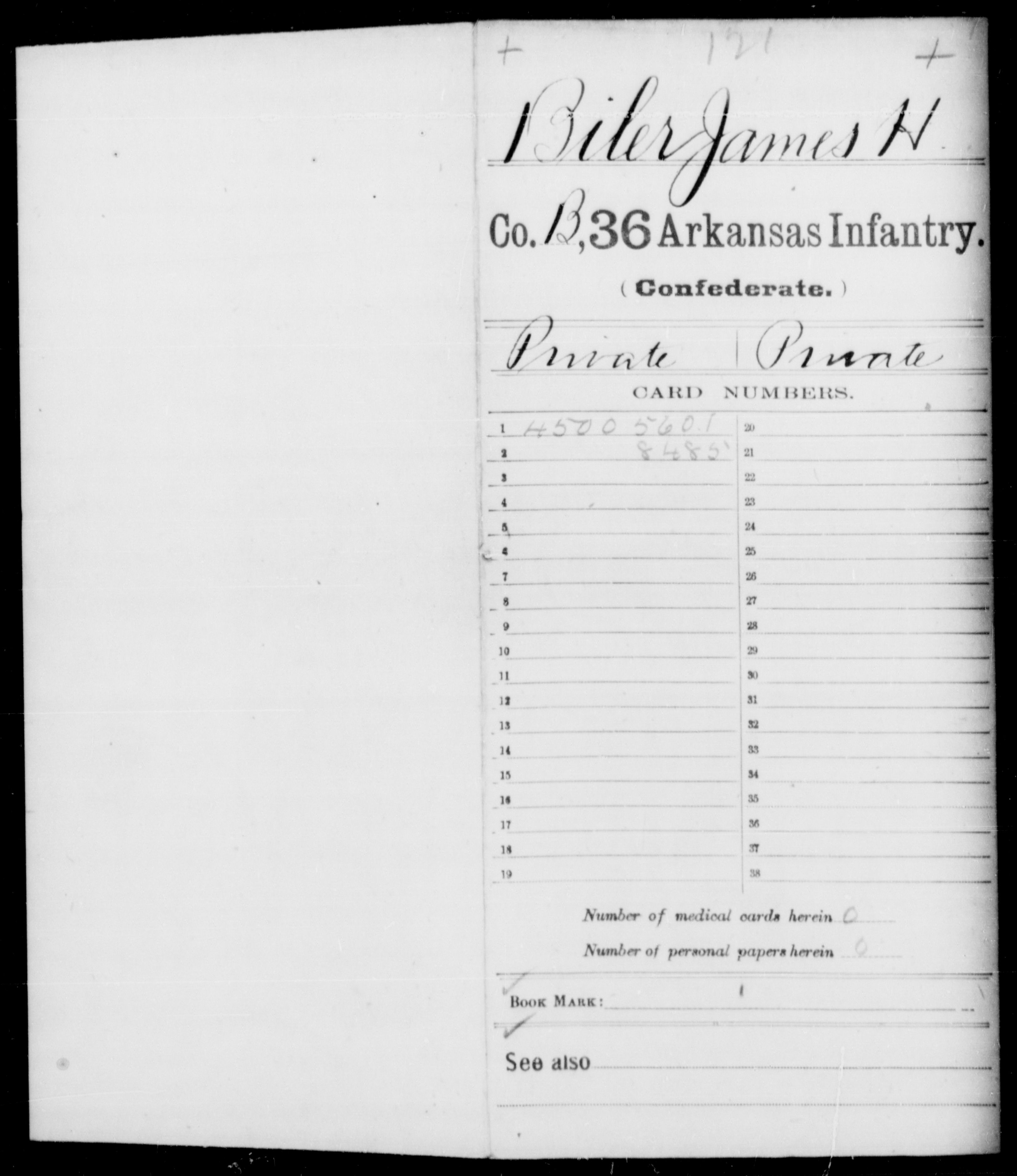 [Arkansas] Biler, James H - Age 33, Year: 1862 - Thirty-sixth Infantry, A-E