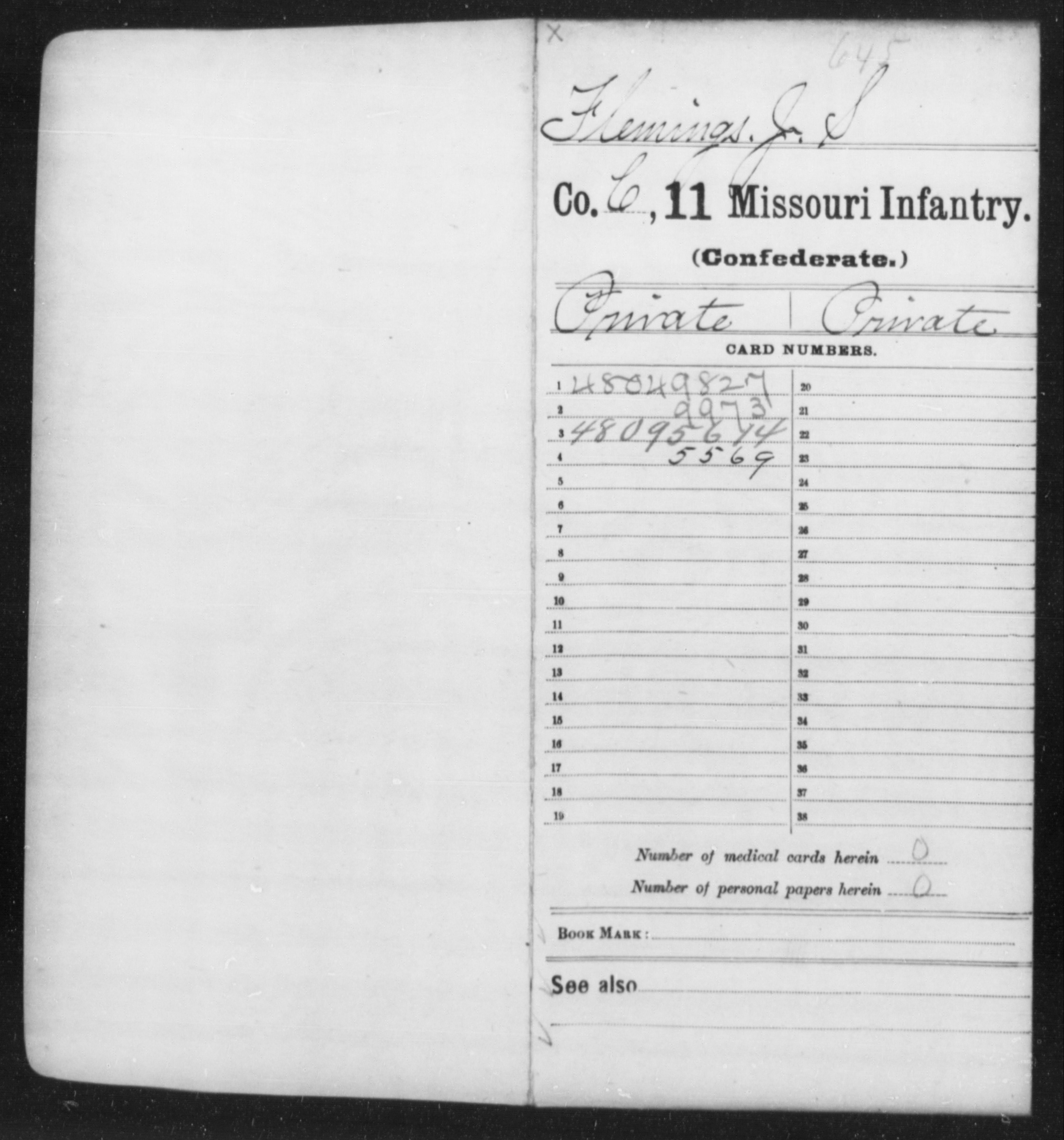 [Missouri] Flemings, Jas S - Age [Blank], Year: 1862 - Eleventh Infantry, Co-Gi