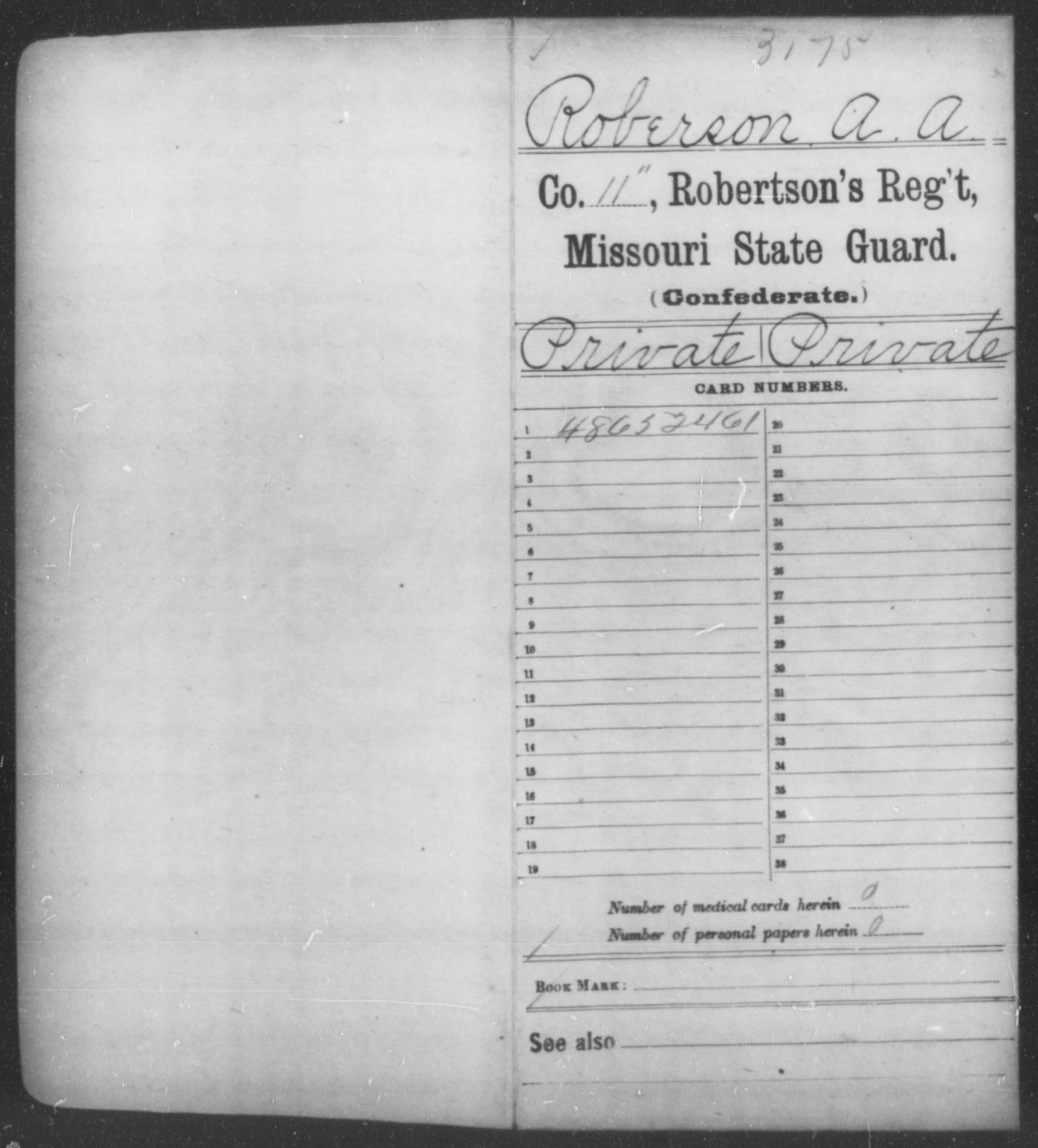 [Missouri] Roberson, A A - Age [Blank], Year: 1861 - State Guard, Ro-Sm