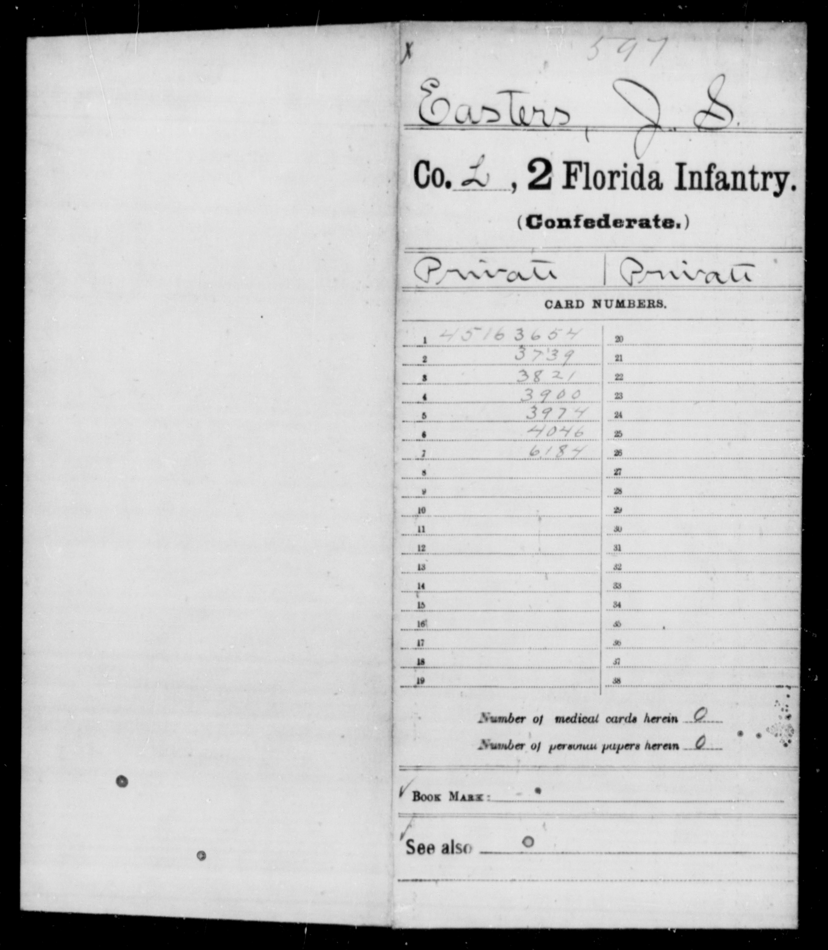 [Florida] Easters, Jno S - Age 24, Year: 1861 - Second Infantry (Co-E)