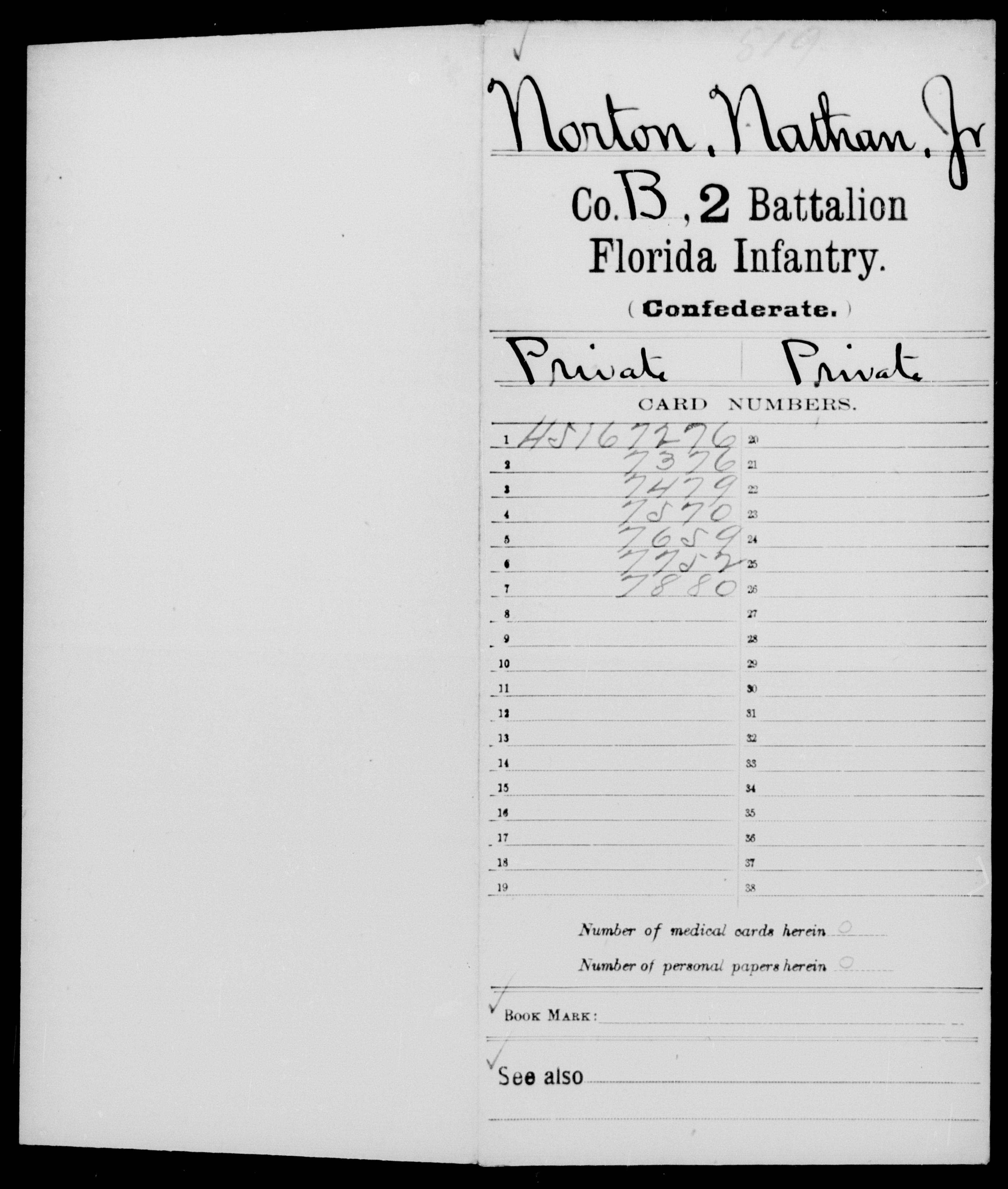 [Florida] Norton, Nathan - Age 23, Year: 1862 - Second Battalion, Infantry (G-N)