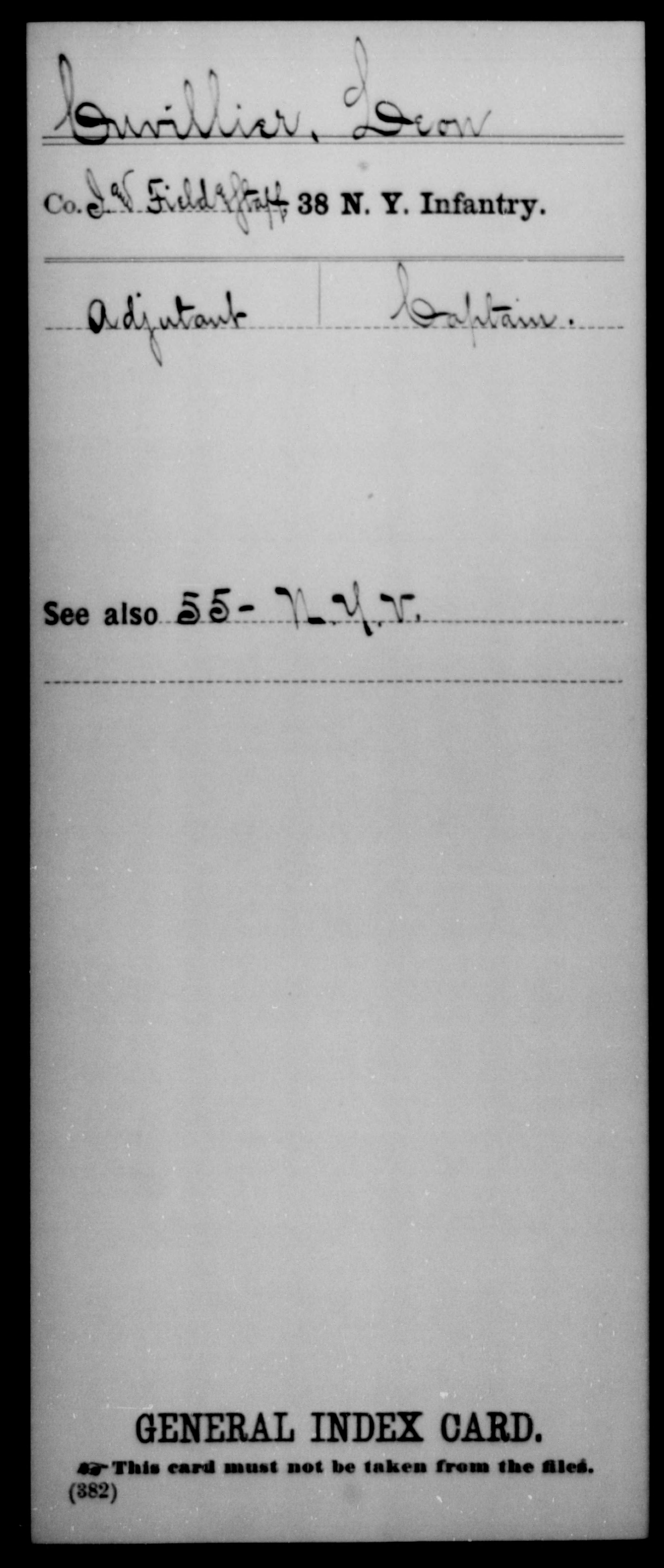 [New York] Cuvillier, Leon - Unit: 38th Infantry, Company: I And Field Staff - Enlistment Rank: Adjutant, Discharge Rank: Captain