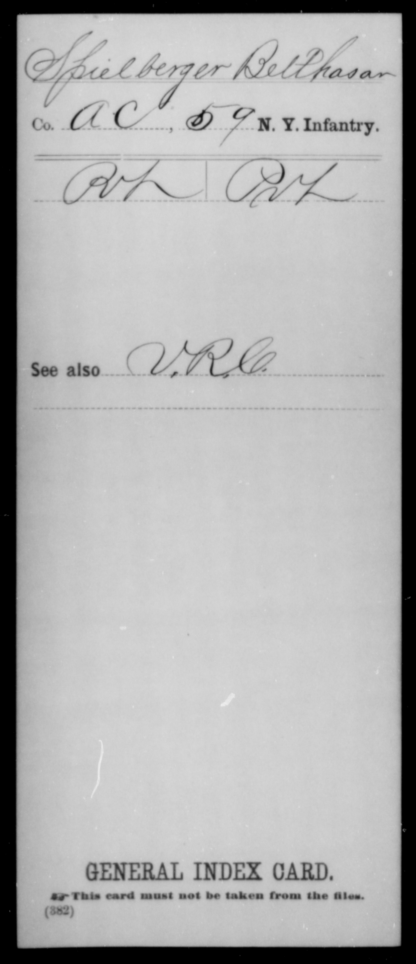 [New York] Spielberger, Belthasar - Unit: 59th Infantry, Company: A,C - Enlistment Rank: Pvt, Discharge Rank: Pvt
