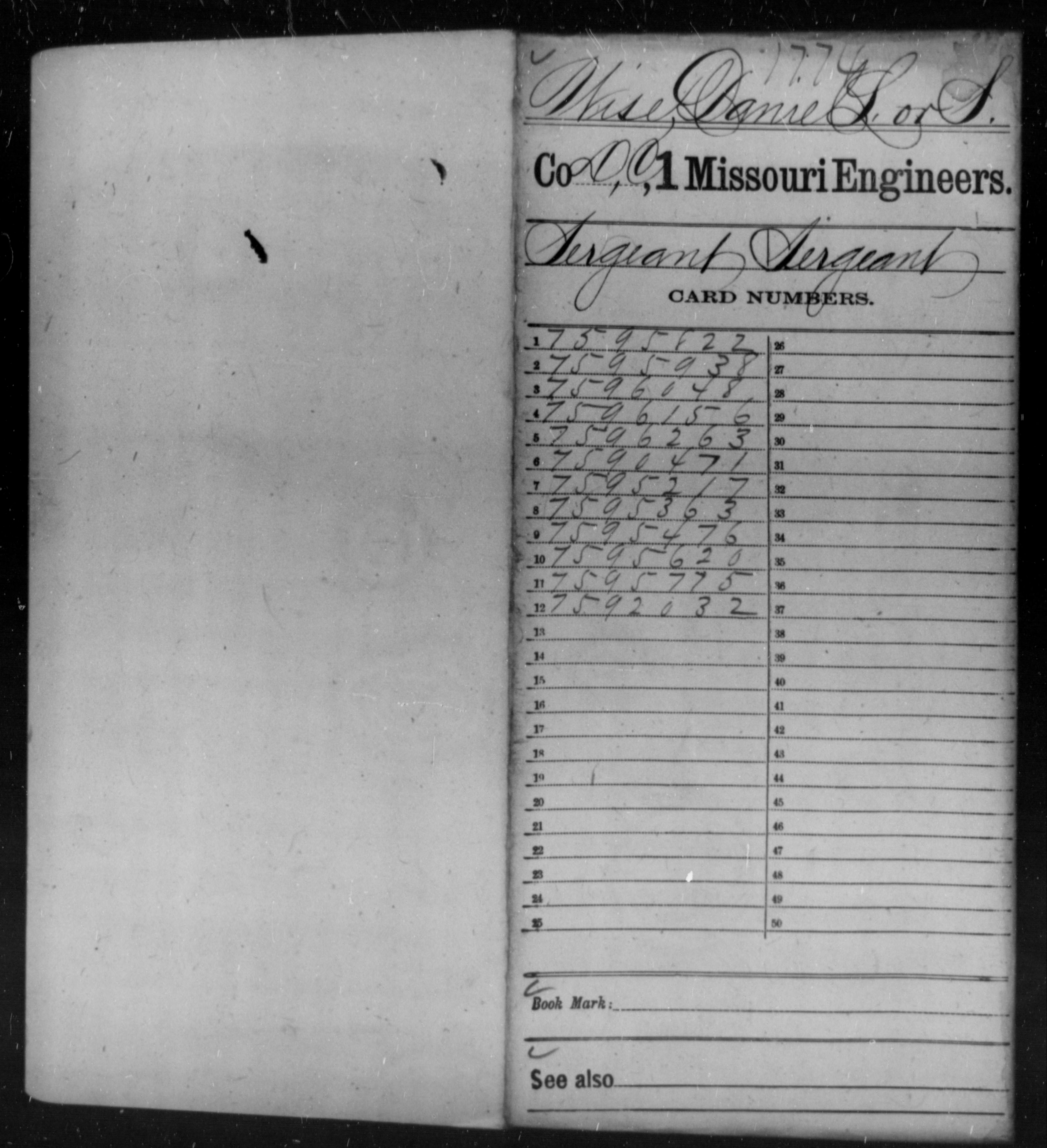 [Missouri] Wise, Danie L - Age 21, Year: 1865 - First Engineers, W-Z AND Engineer Regiment of the West, Volunteers, A-Ba