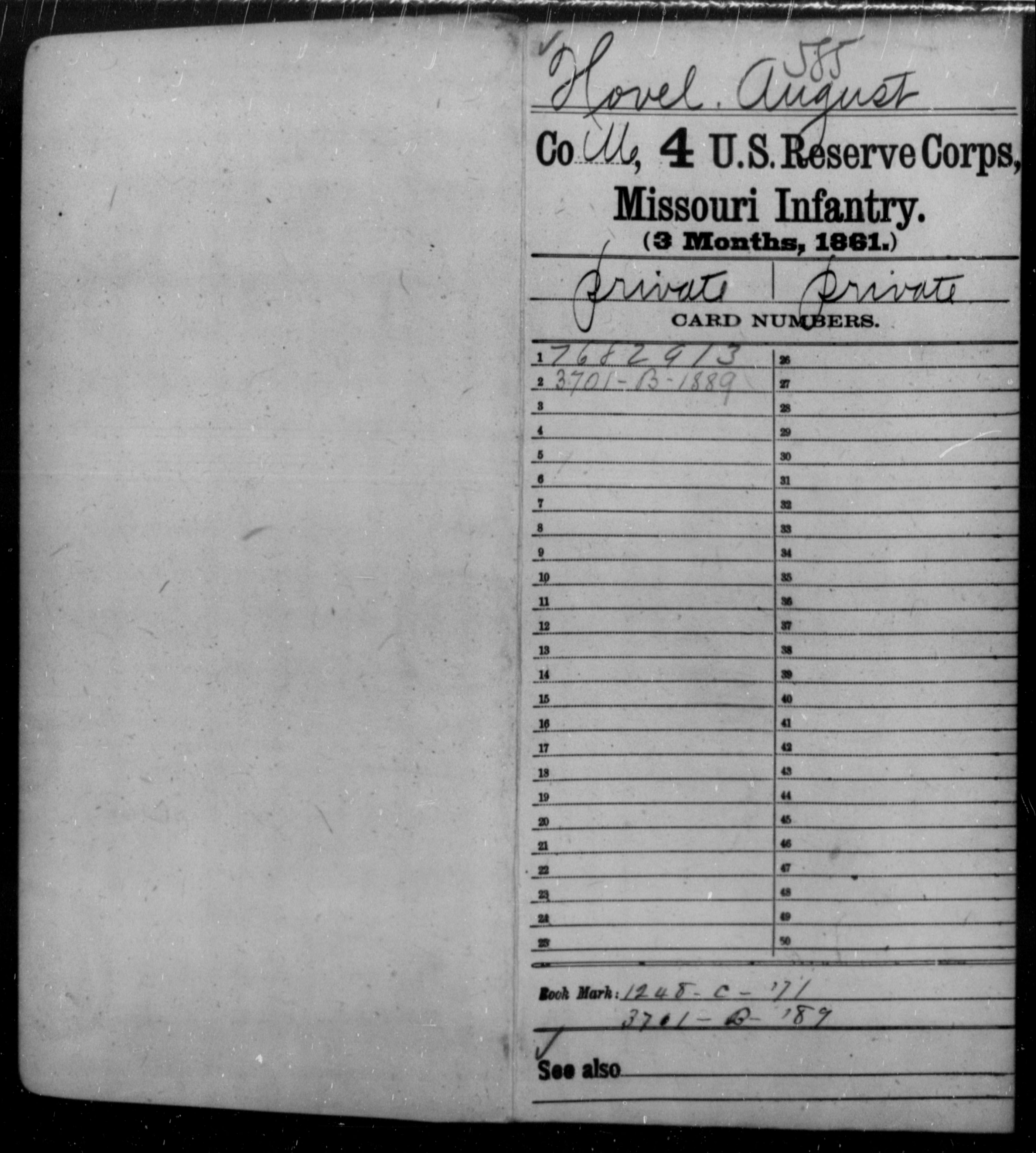 [Missouri] Hovel, August - Age [Blank], Year: 1861 - Fourth US Reserve Corps, Infantry (1861), A-Mc