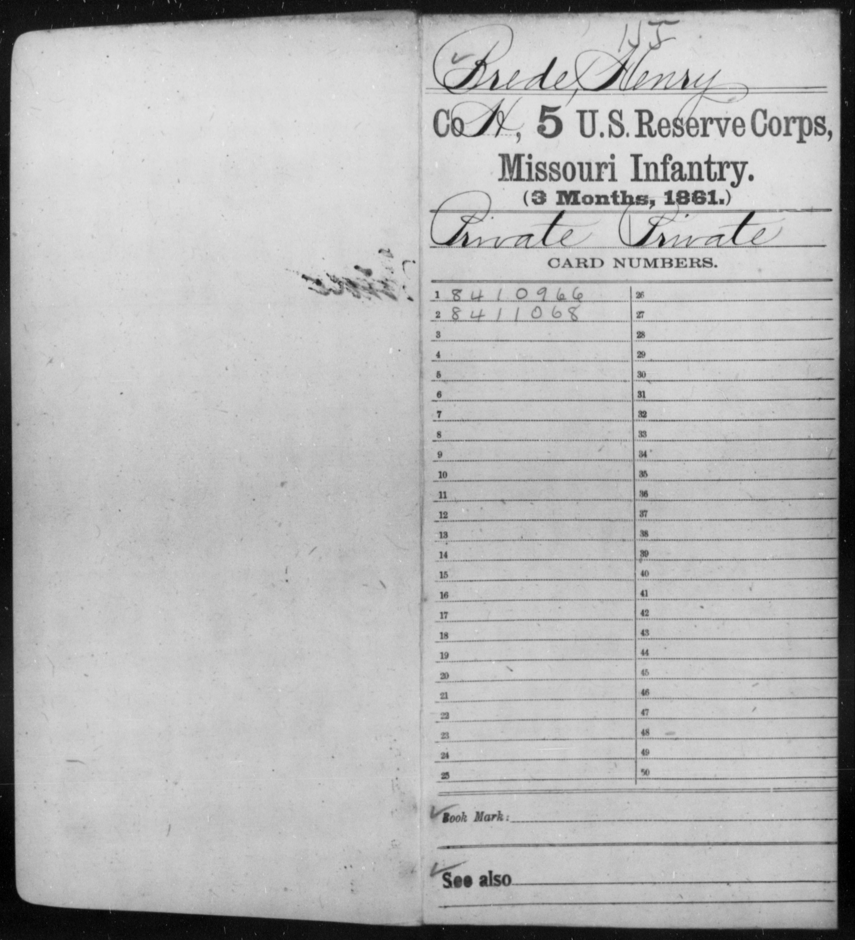 [Missouri] Brede, Henry - Age 21, Year: 1861 - Fifth US Reserve Corps, Infantry (1861), A-N