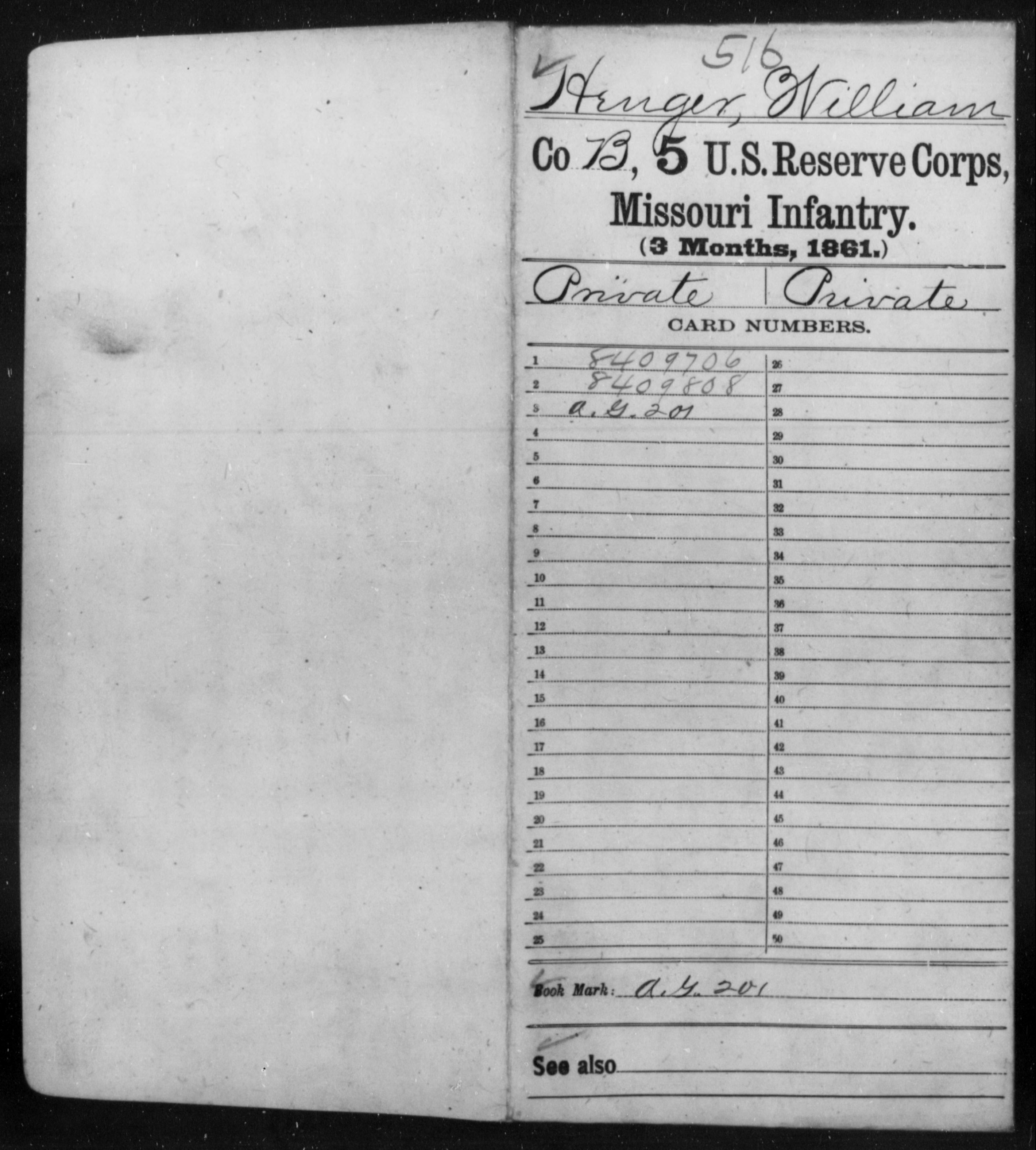 [Missouri] Henger, William - Age 45, Year: 1861 - Fifth US Reserve Corps, Infantry (1861), A-N