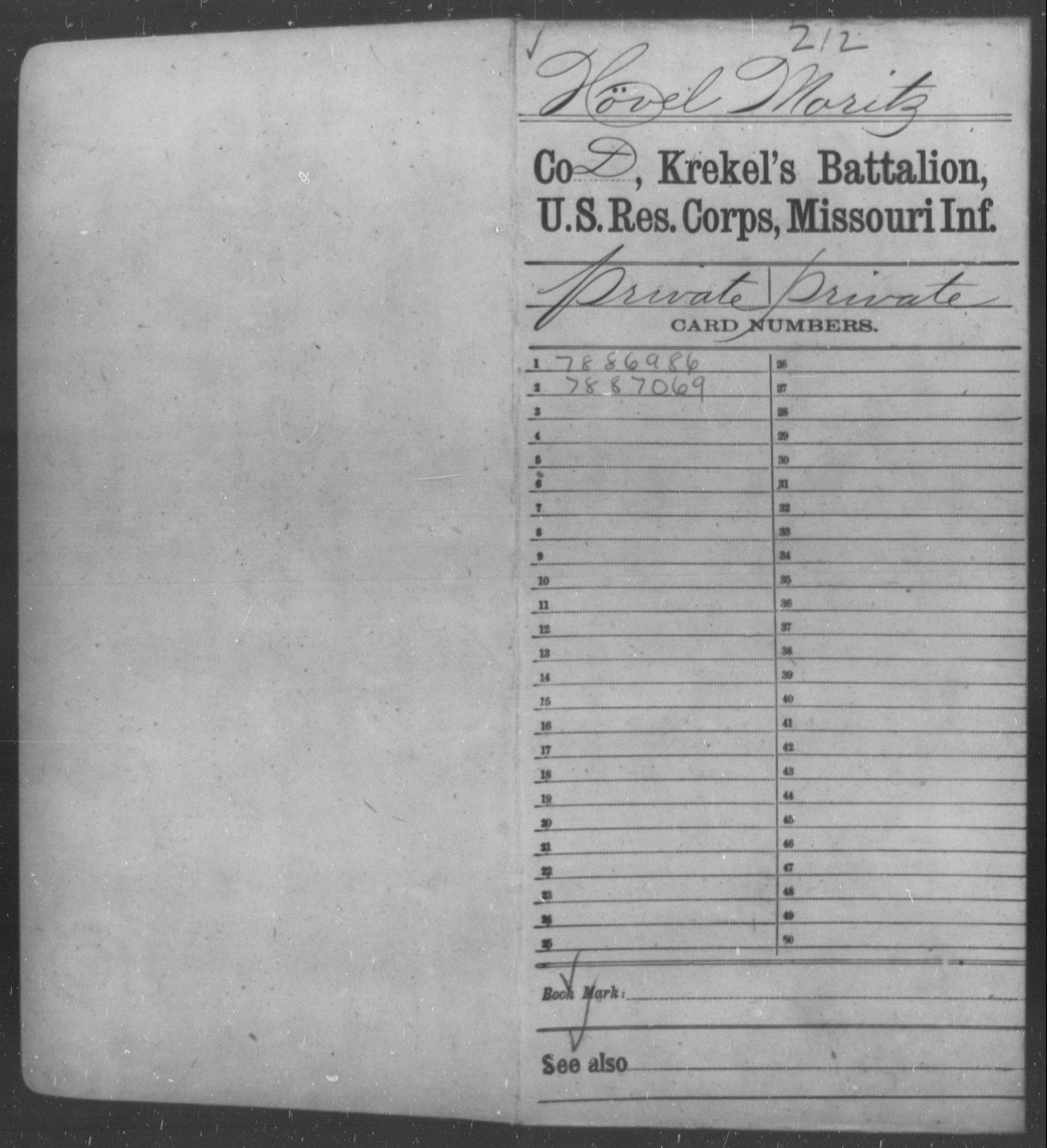 [Missouri] Hövel, Moritz - Age 29, Year: 1862 - Benton Cadets, Infantry AND Gasconade County Battalion, US Reserve Corps, Infantry AND Krekel's Battalion, US Reserve Corps, Infantry