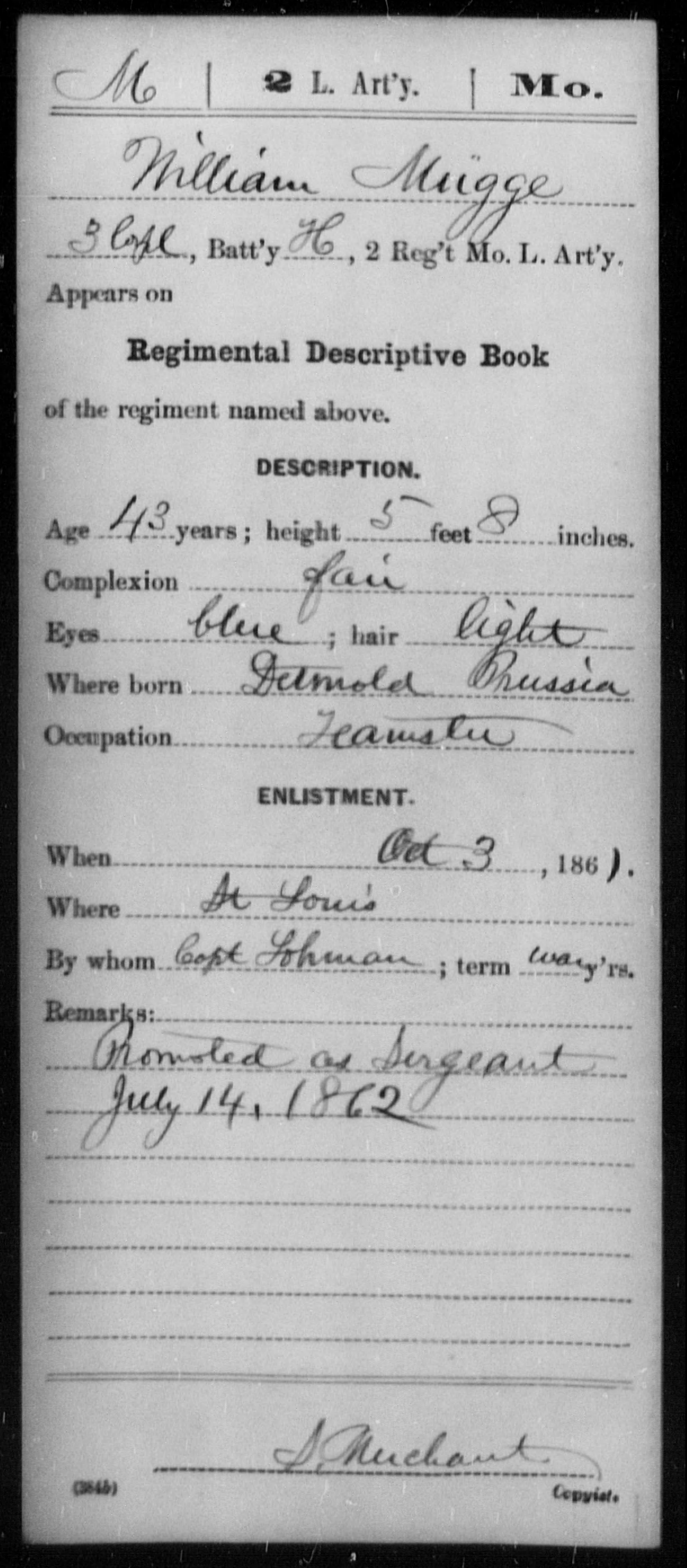 [Missouri] Mugge, William - Age 43, Year: 1861 - Second Light Artillery, M-R