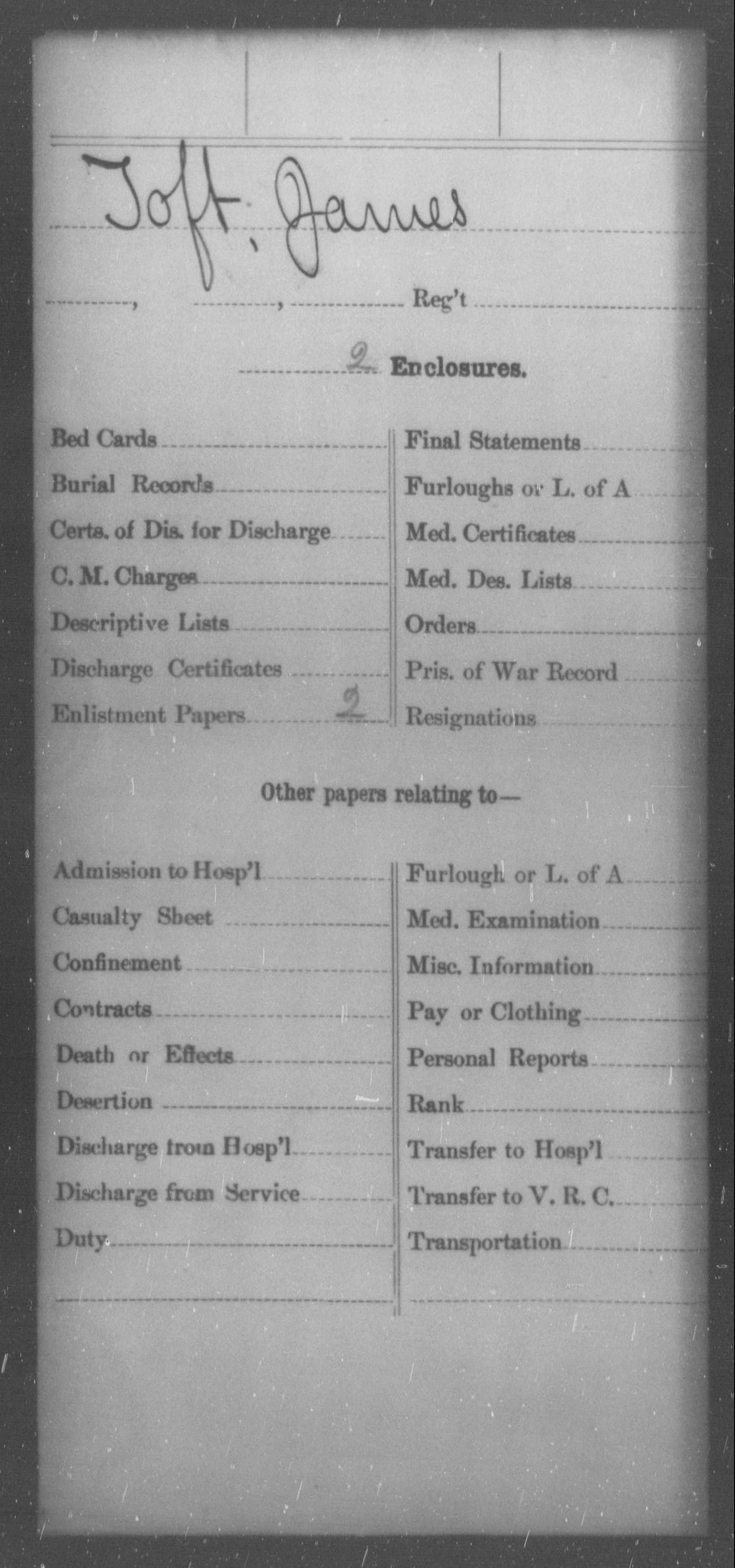 [Missouri] Toft, James - Age 23, Year: 1862 - Personal Papers, Th-Tr