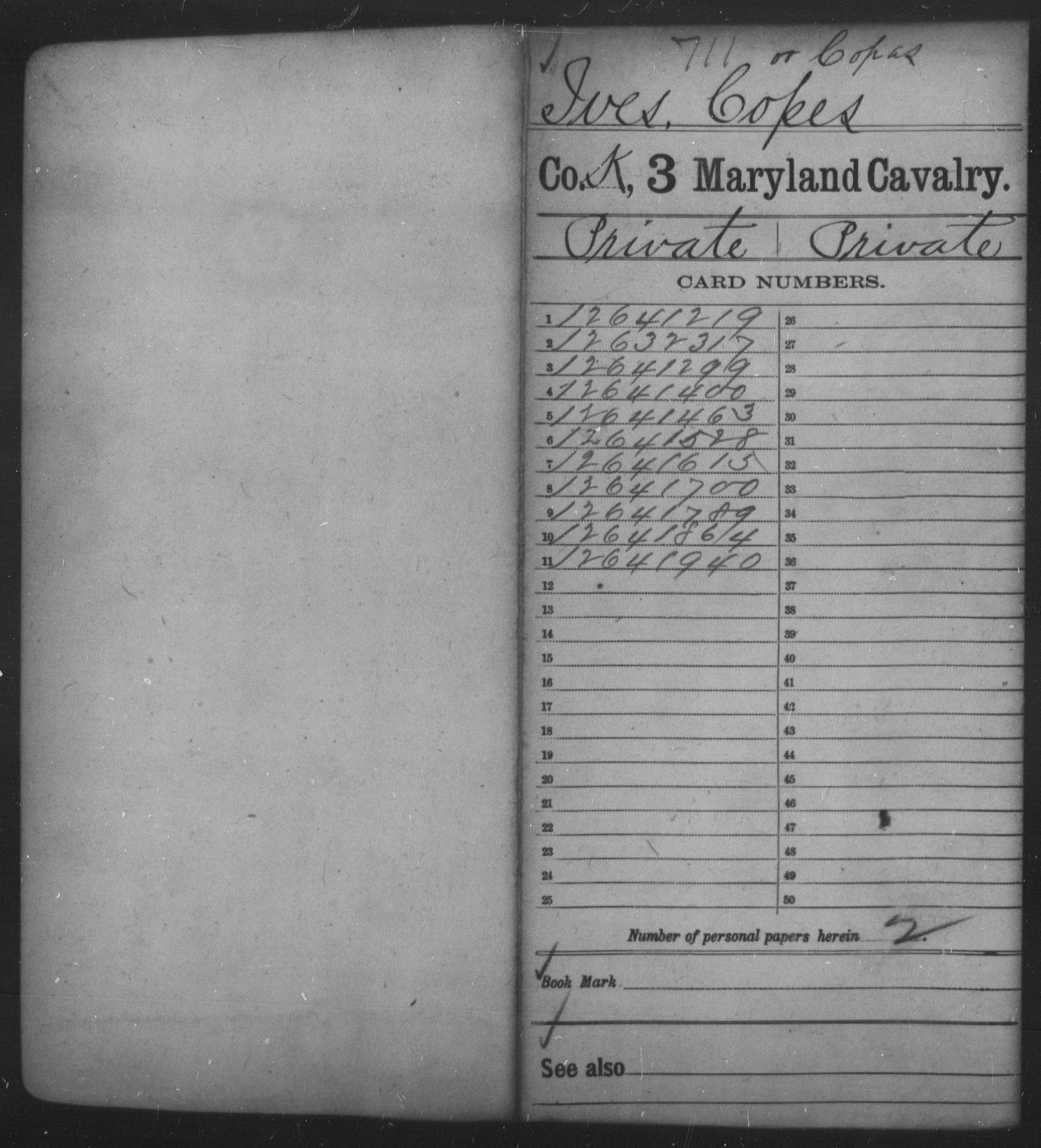 [Maryland] Ives, Copes - Age 20, Year: 1864 - Third Cavalry, A-W