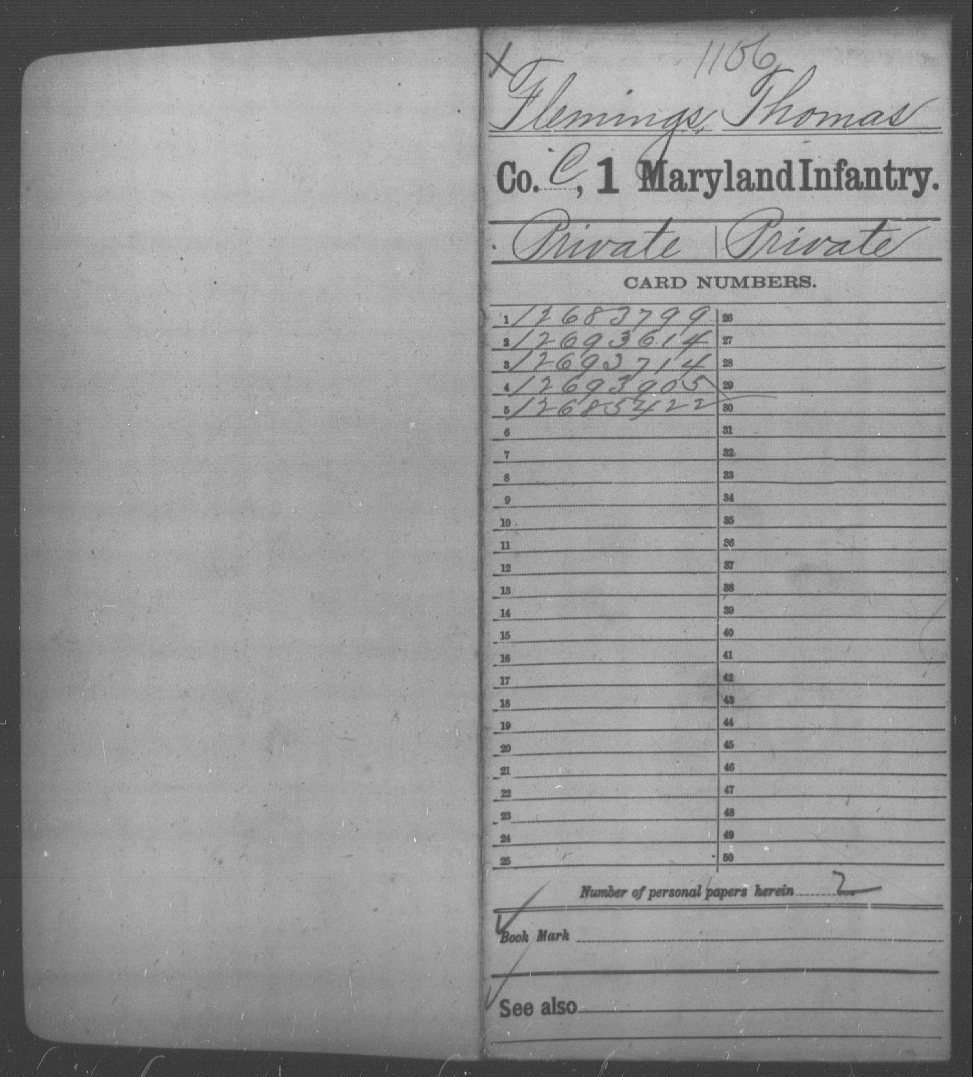 [Maryland] Flemings, Thomas - Age 26, Year: 1865 - First Infantry, Bas-Z