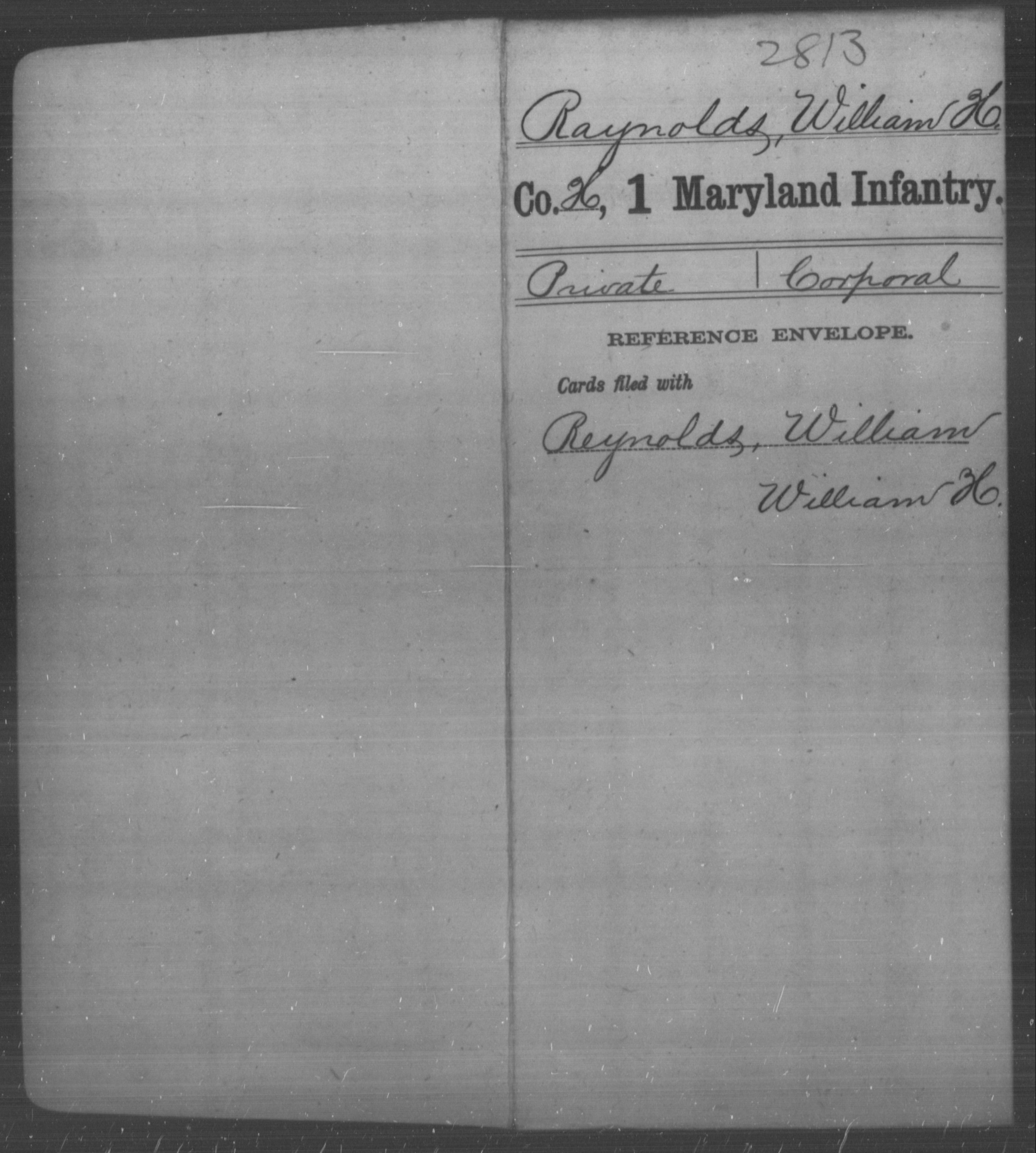 [Maryland] Raynolds, William H - Age [Blank], Year: [BLANK] - First Infantry, Bas-Z