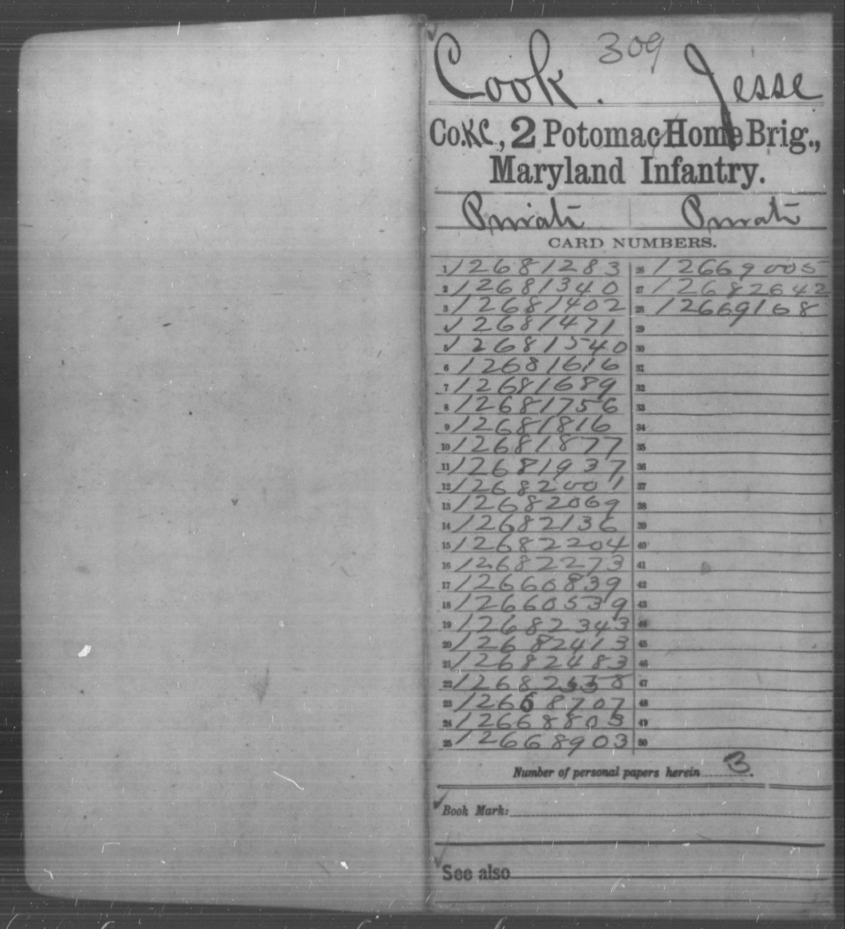 [Maryland] Cook, Jesse - Age 20, Year: 1864 - Second Potomac Home Brigade, Infantry, Al-Whi