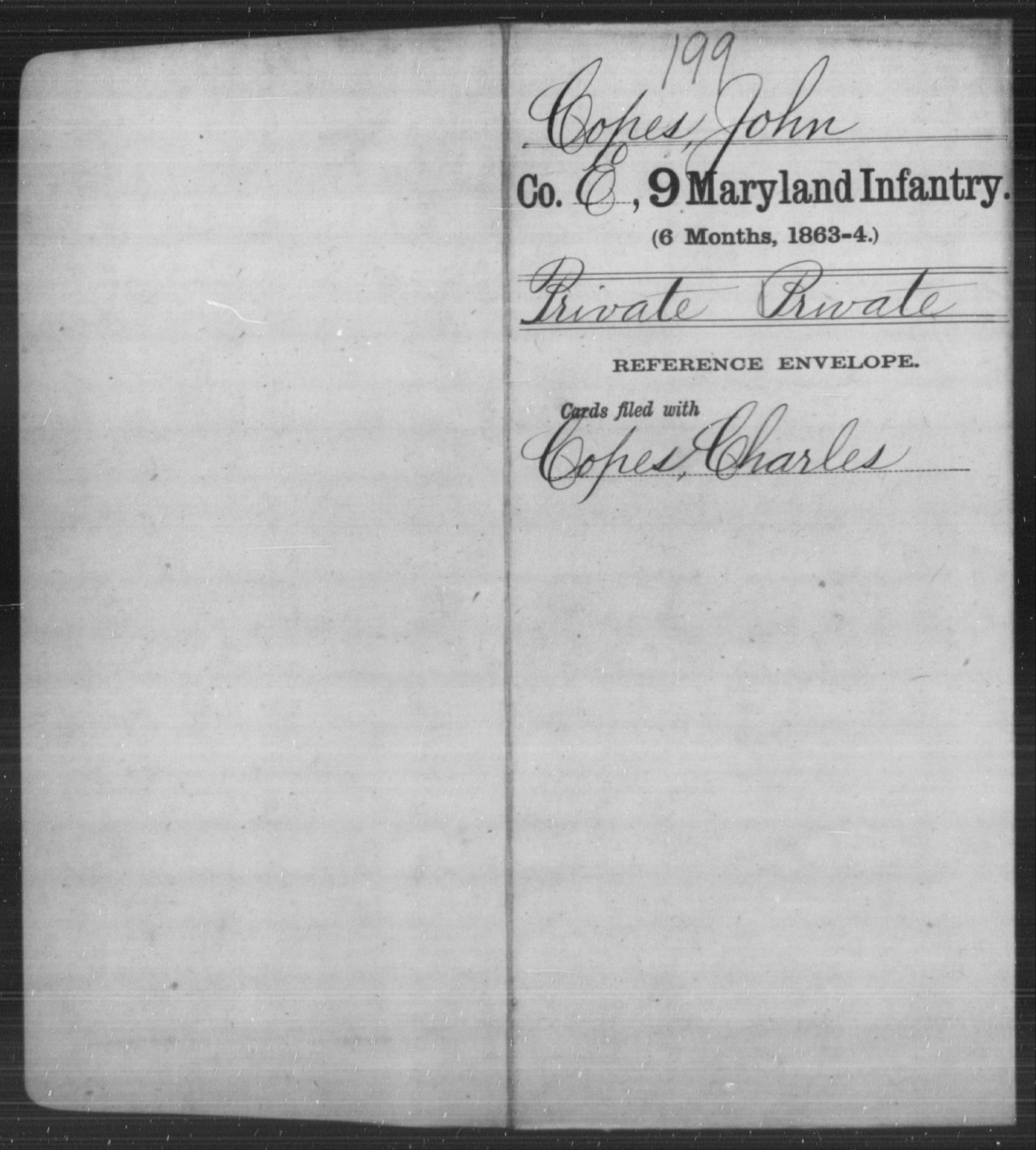 [Maryland] Copes, John - Age [Blank], Year: [BLANK] - Eighth Infantry, Wi-Z AND Ninth Infantry, A-F