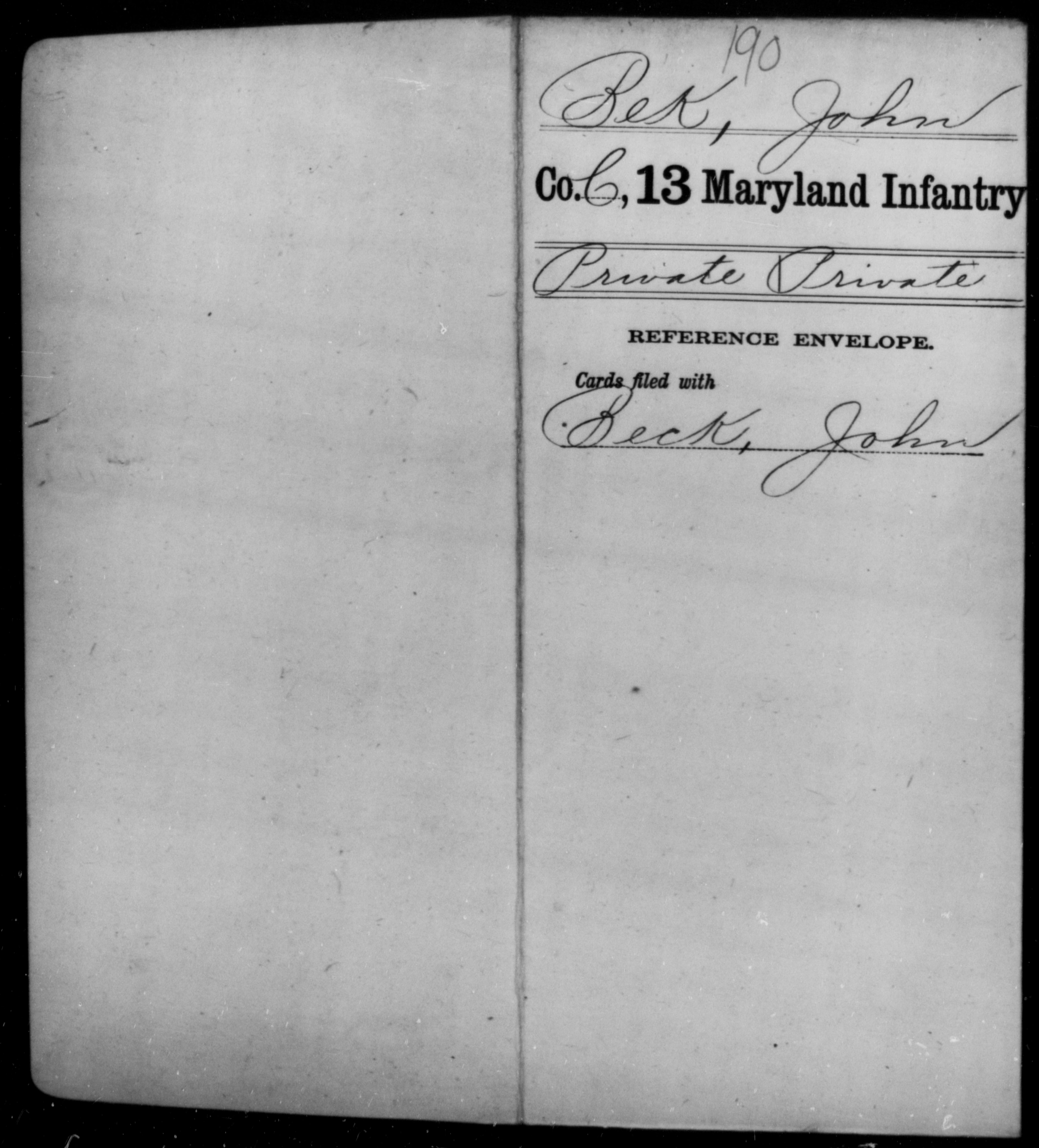 [Maryland] Bek, John - Age [Blank], Year: [BLANK] - Twelfth Infantry (100 days, 1864), Ti-Z AND Thirteenth Infantry, A-Bel