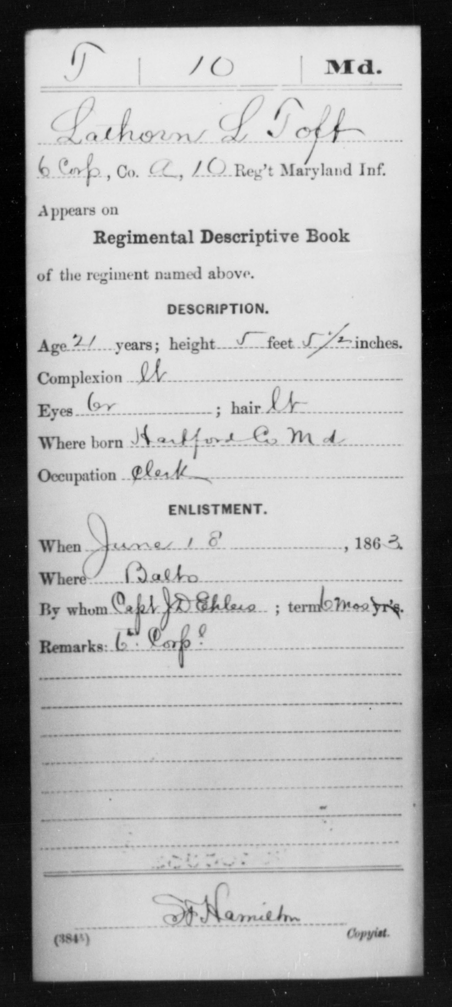 [Maryland] Toft, Lathorn L - Age 21, Year: 1863 - Miscellaneous Card Abstracts of Records