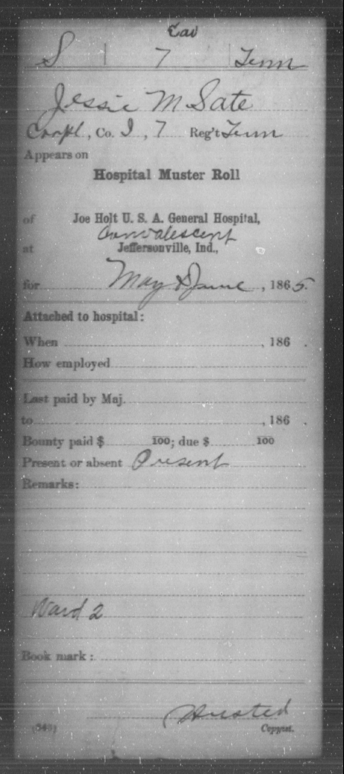 Sate, Jessie M - Age [Blank], Year: 1865 - Misc Card Abstracts of Records