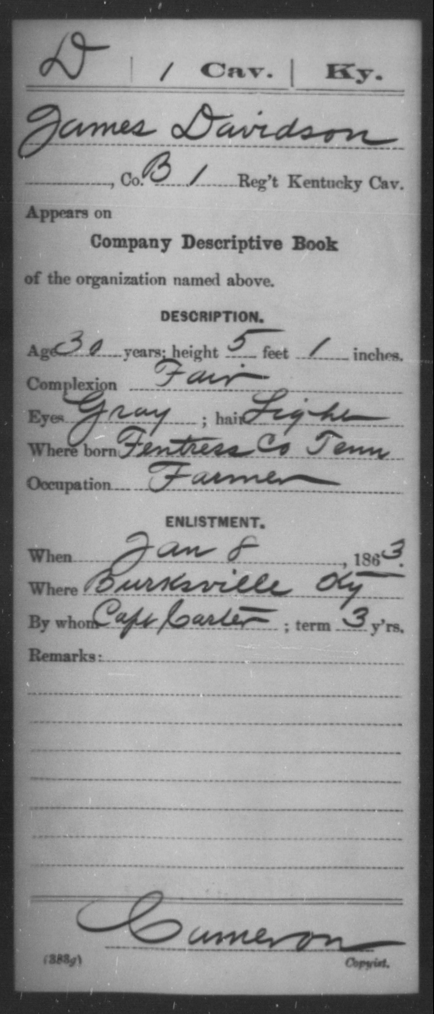 Davidson, James - Age 30, Year: 1863 - Misc Card Abstracts of Records, First Cavalry and Second Cavalry