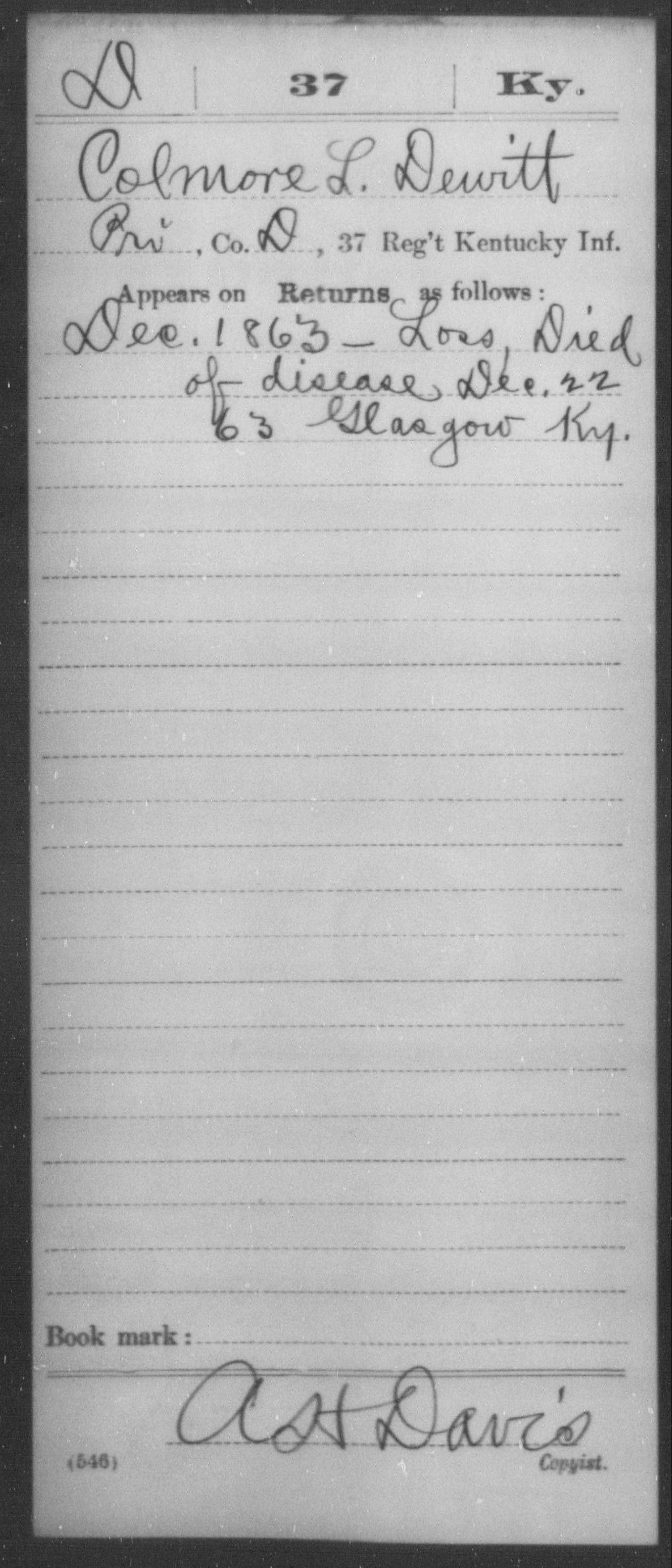 Dewitt, Colmore L - Age [Blank], Year: 1863 - Misc Card Abstracts of Records, Thirty-seventh Infantry and Thirty-ninth Infantry and Fortieth Infantry