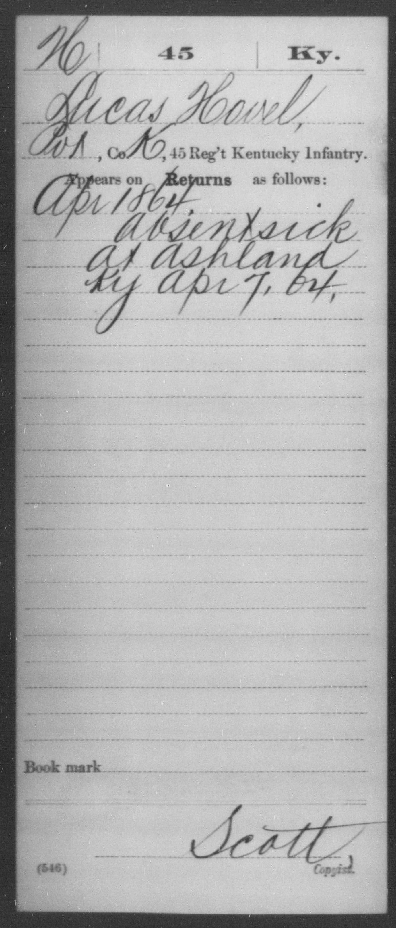 Hovel, Lucas - Age [Blank], Year: 1864 - Misc Card Abstracts of Records, Forty-fifth through Forty-ninth Infantry and Fifty-second Infantry and Fifty-third Infantry