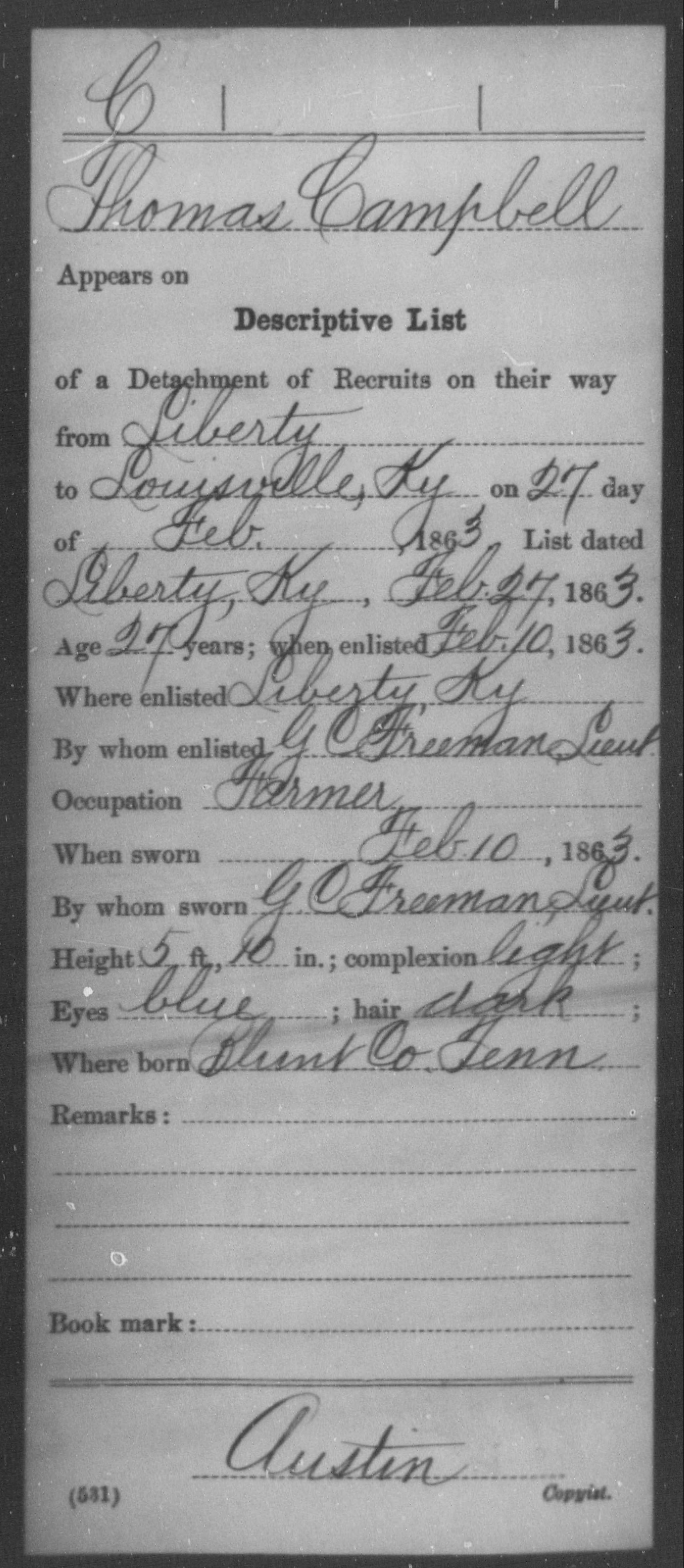 Campbell, Thomas - Age 27, Year: 1863 - Misc Card Abstracts of Records, Fifty-fourth Infantry and Fifty-fifth Infantry and Louisville Provost Guards and First Capitol Guard Cavalry AND Other Misc Card Abstracts