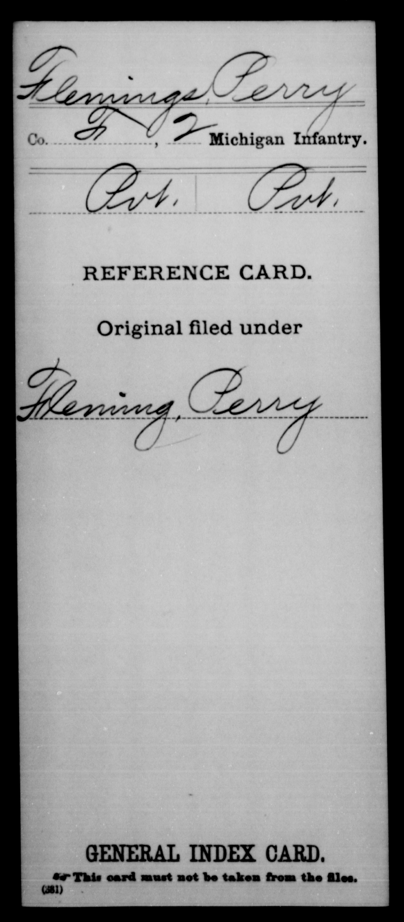 Flemings, Perry - Unit: 2nd Infantry, Company: F - Enlistment Rank: Pvt, Discharge Rank: Pvt