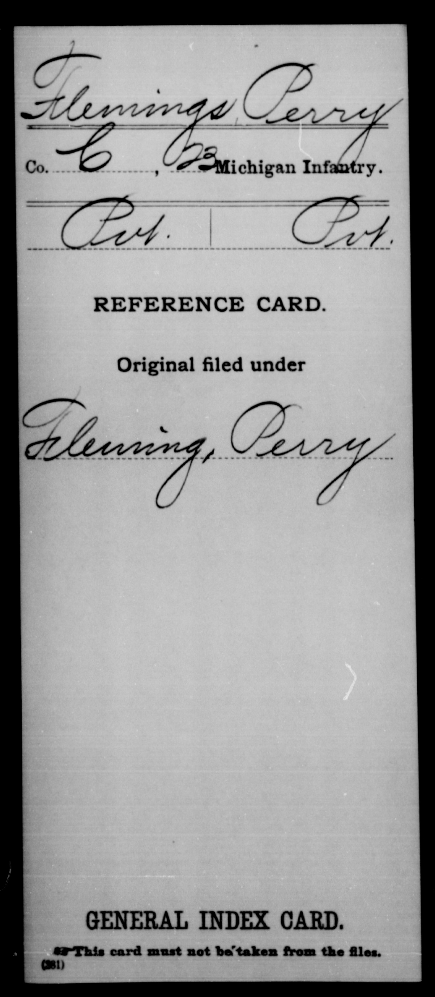 Flemings, Perry - Unit: 23rd Infantry, Company: C - Enlistment Rank: Pvt, Discharge Rank: Pvt