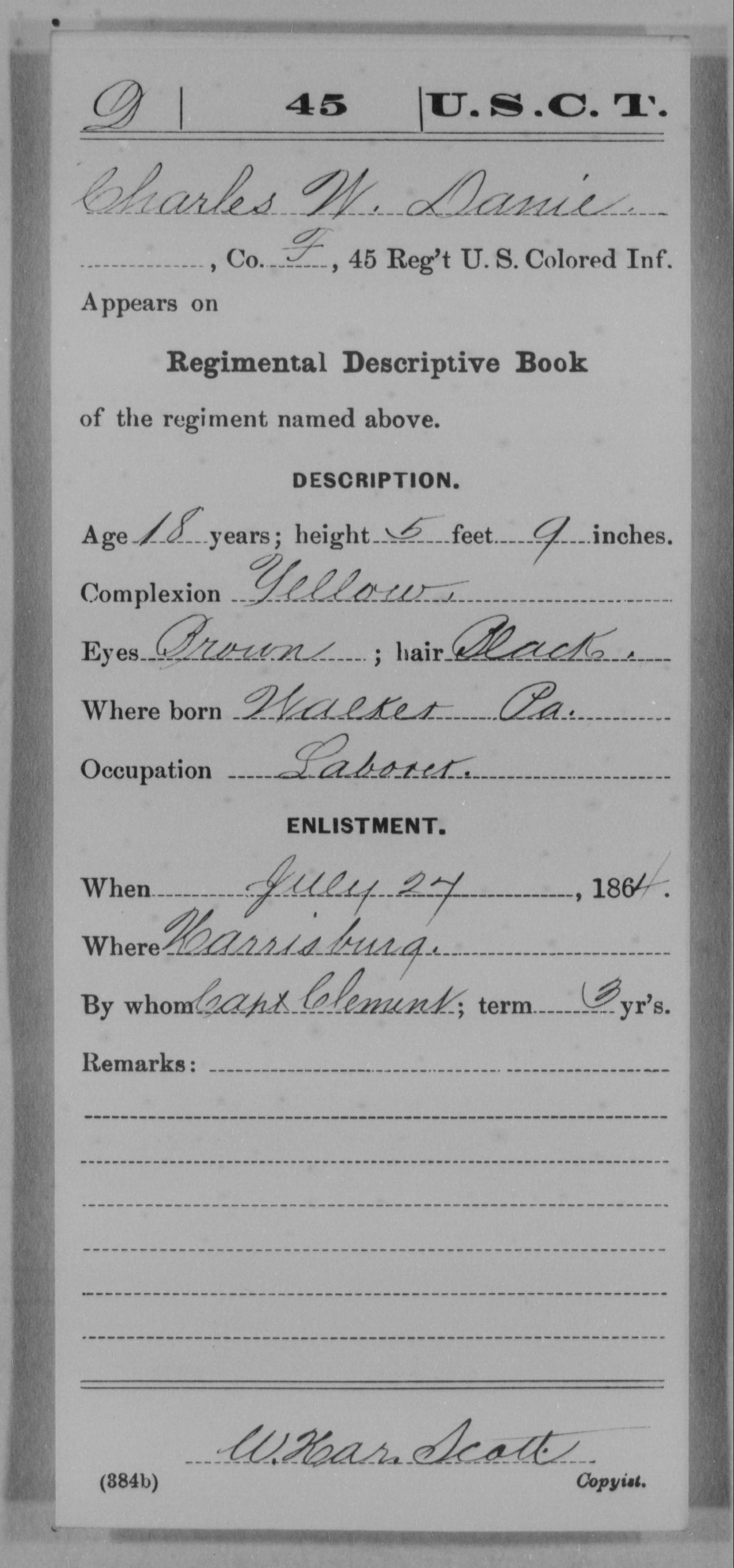 Danie, Charles W - Age 18, Year: 1864 - 45th US Colored Infantry, Misc Cards