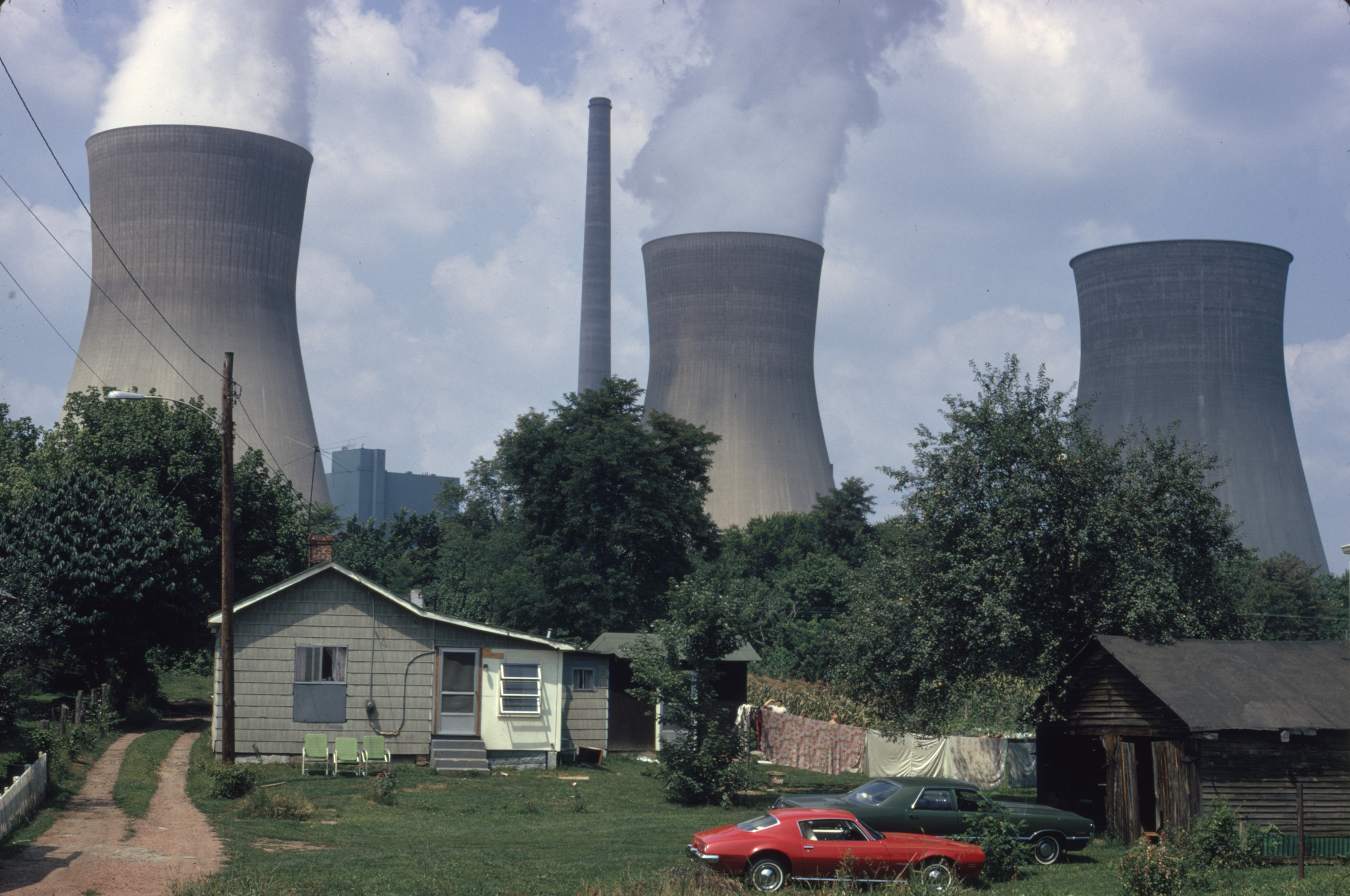 Water Cooling Towers of the John Amos Power Plant Loom over Poca