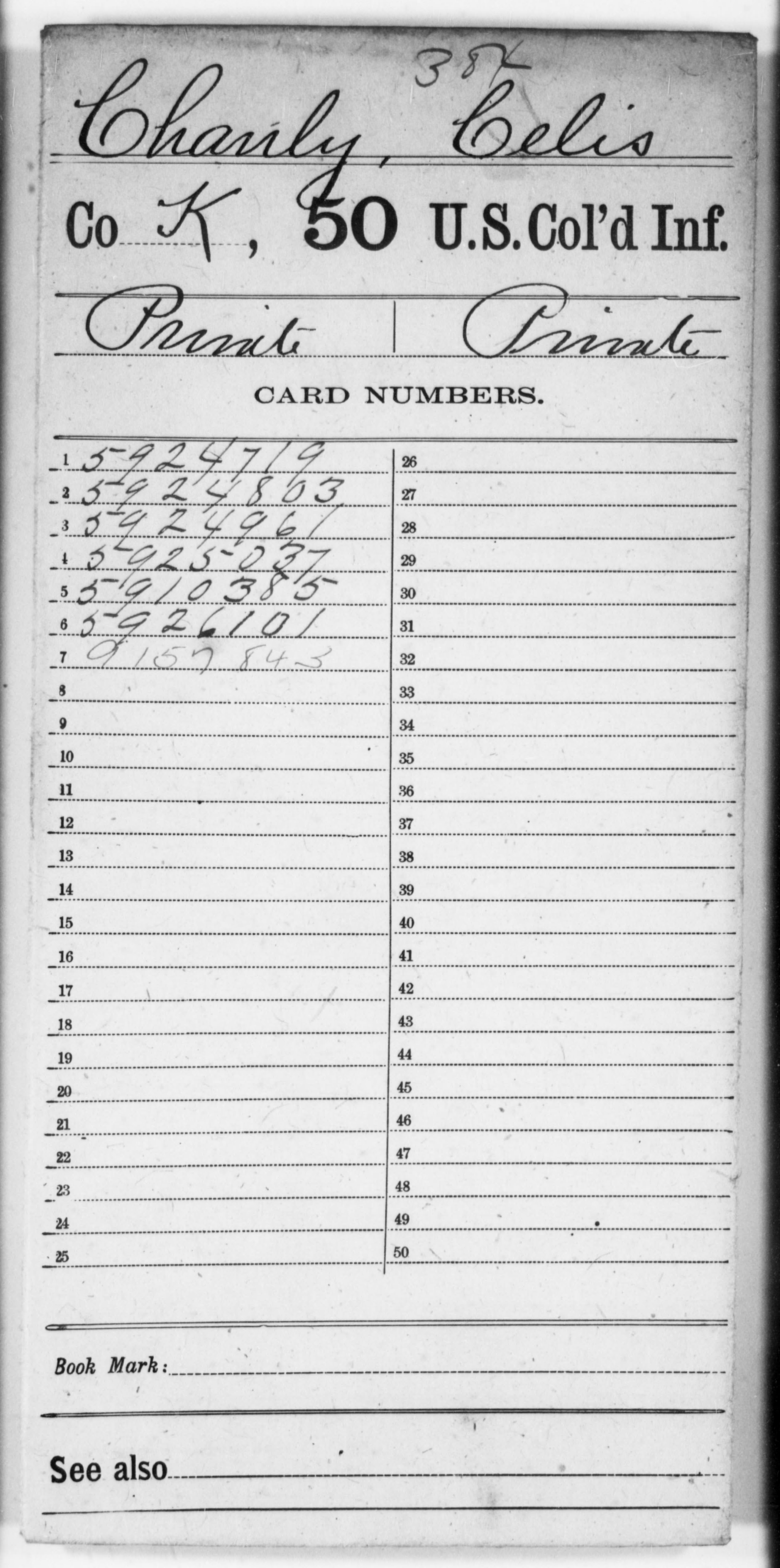 Chanly, Celis - Age 23, Year: 1863 - 50th US Colored Infantry