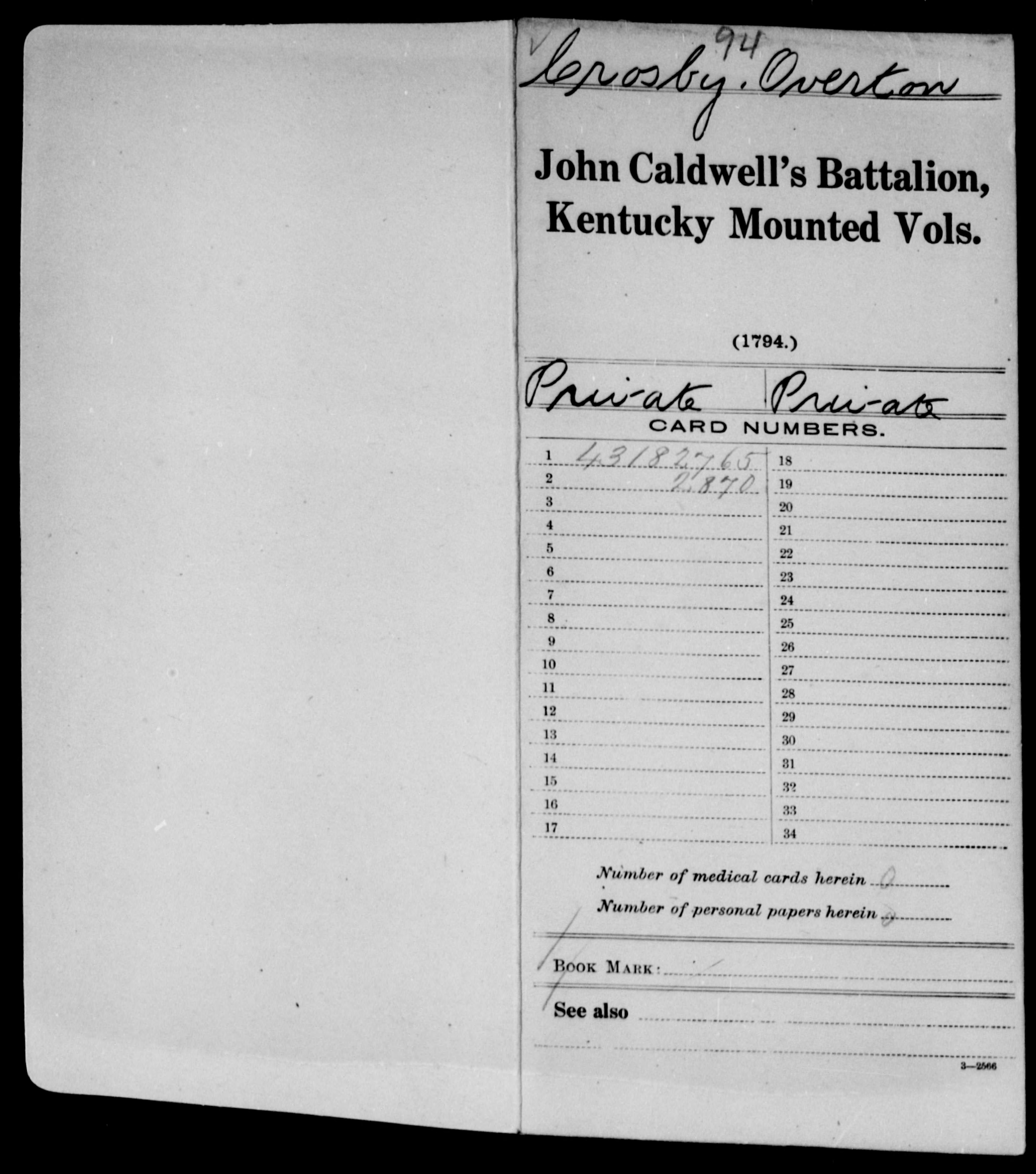 Compiled Military Service Record of Overton Crosby, John Caldwell's Battalion, Mounted Volunteers, Kentucky, 1794