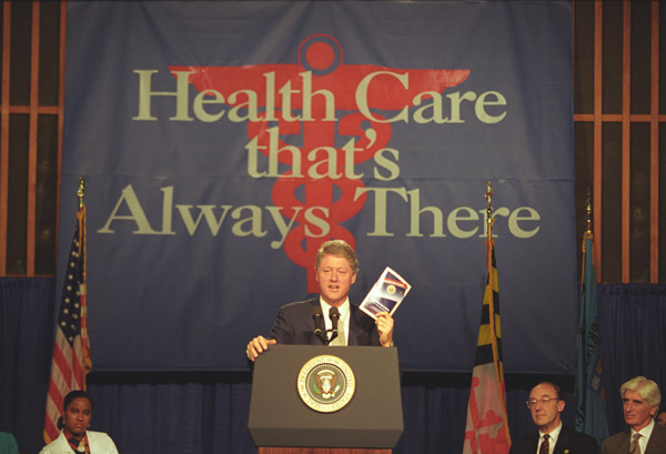 President Clinton giving a speech on Health Care Legislation
